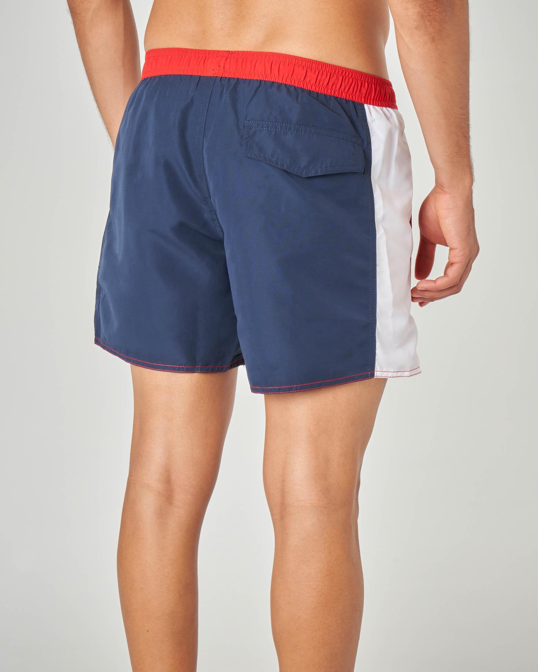 Costume boxer rosso e blu con banda bianca e logo