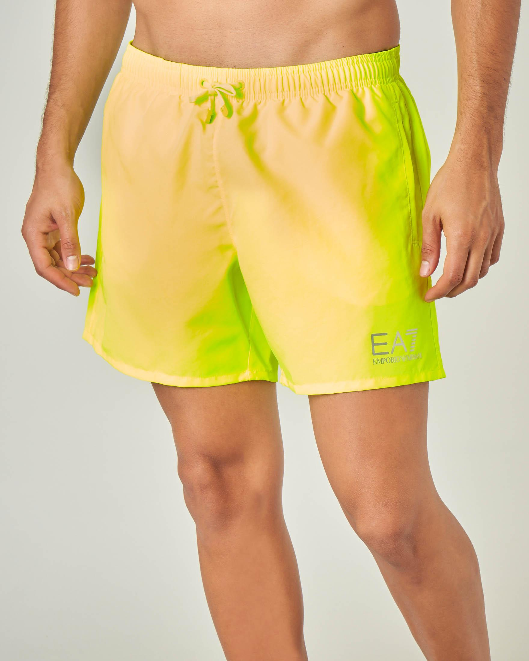 Costume boxer giallo fluo con logo stampato