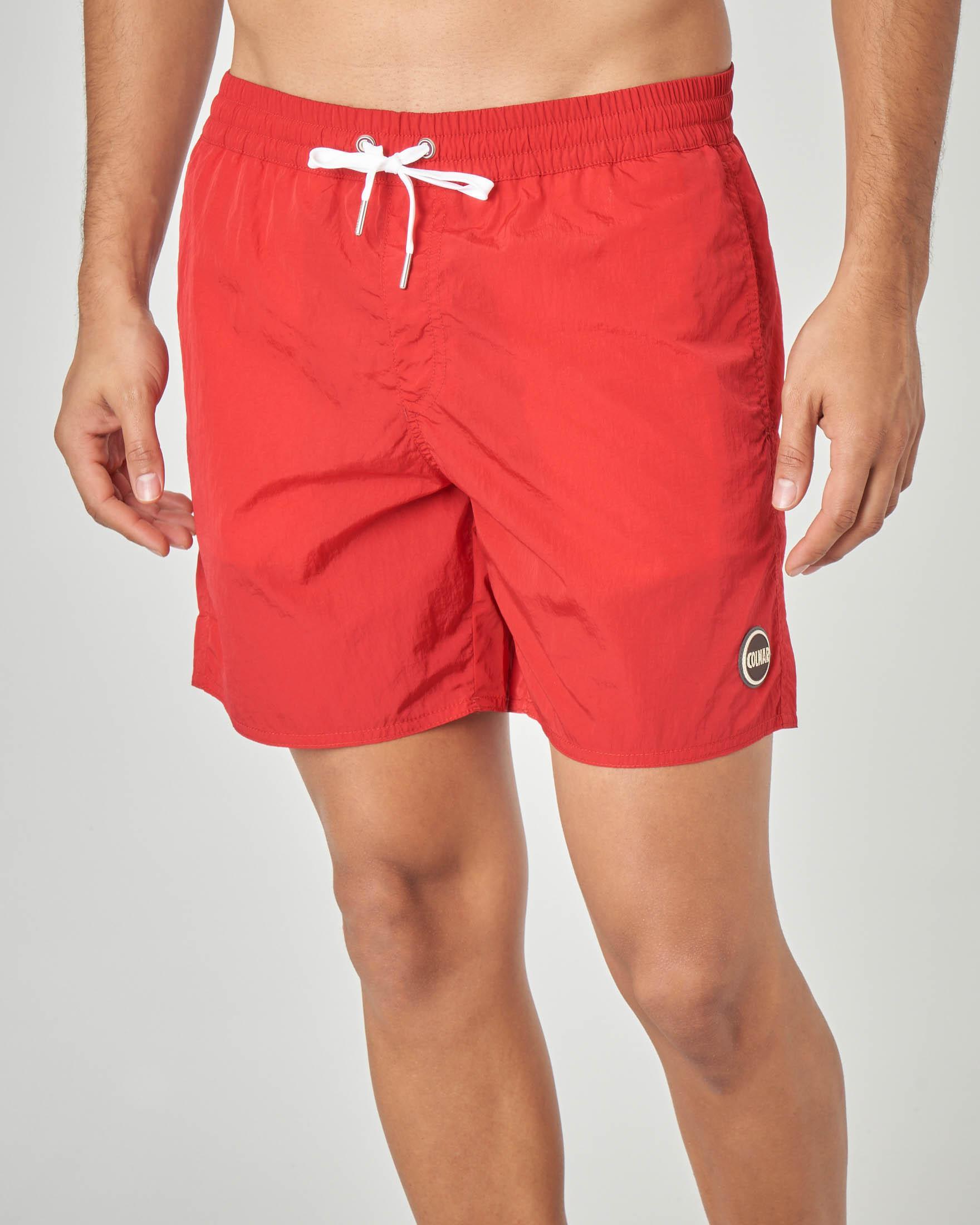 Costume boxer rosso tinta unita