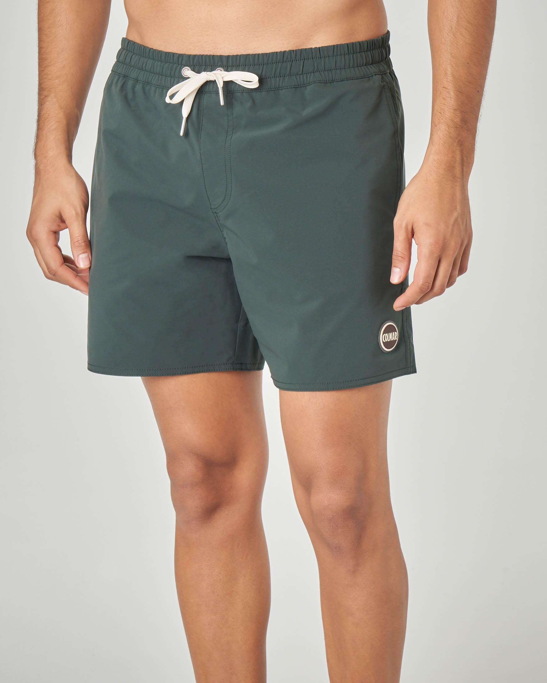 Costume boxer verde in tessuto stretch