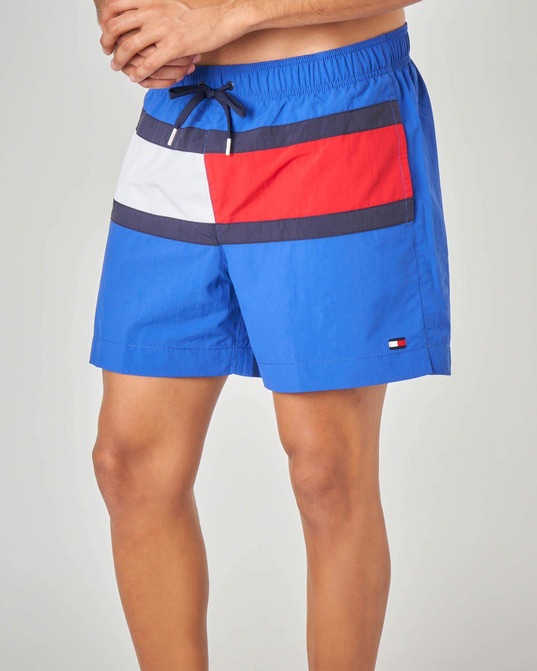 Costume boxer blu royal con maxi bandiera del logo davanti