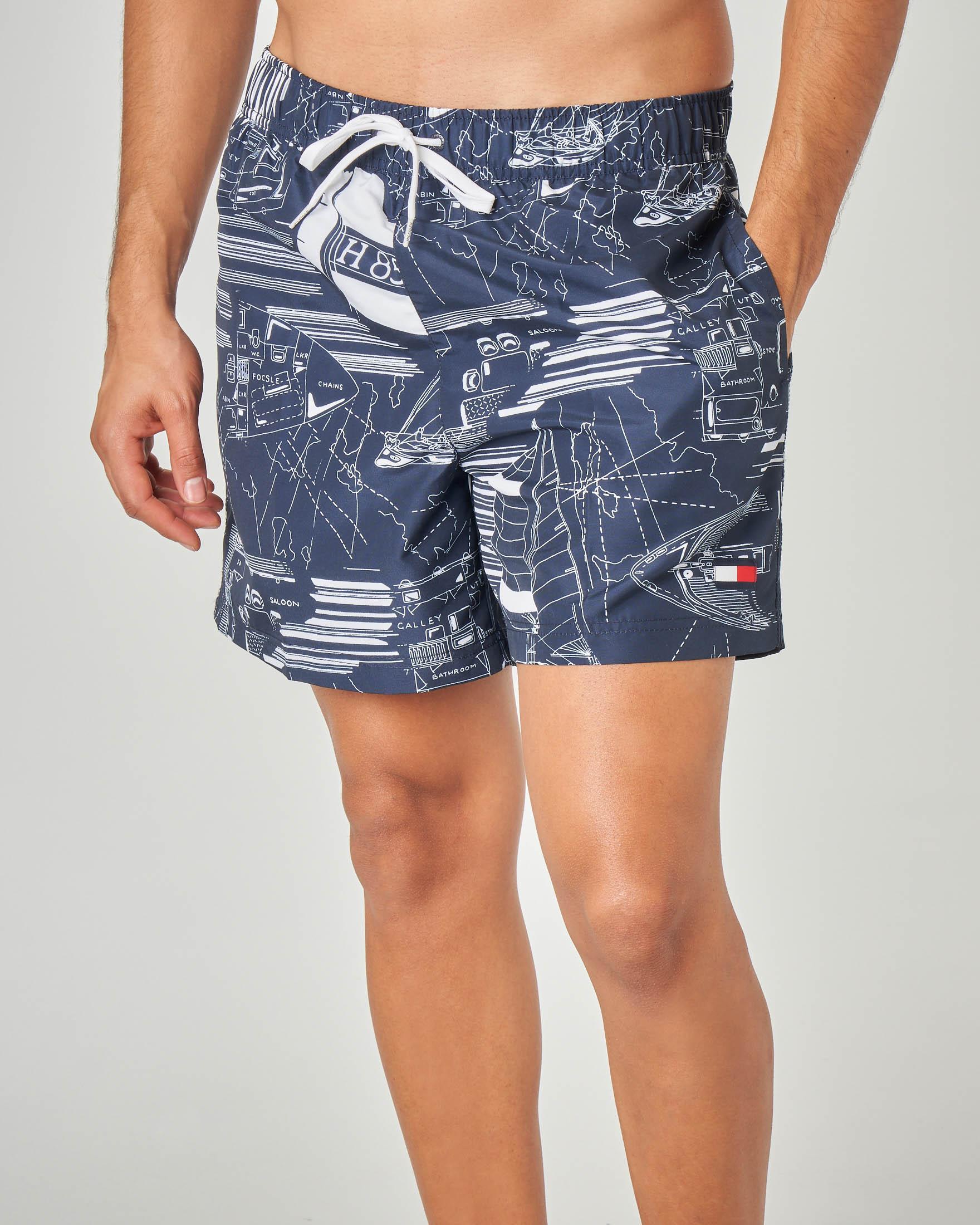 Costume boxer blu con fantasia nautica stampata