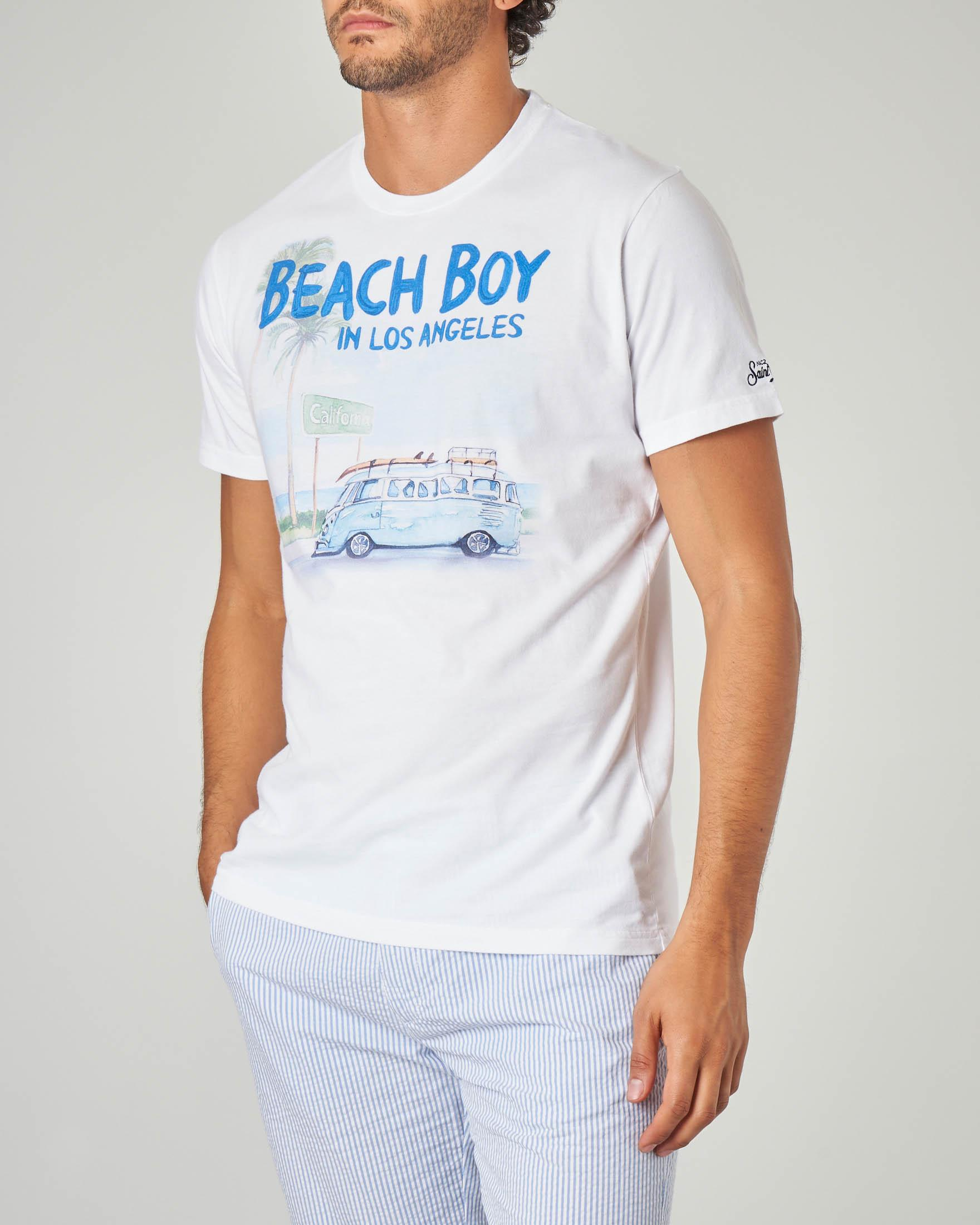 T-shirt bianca con stampa Beach Boy in Los Angeles