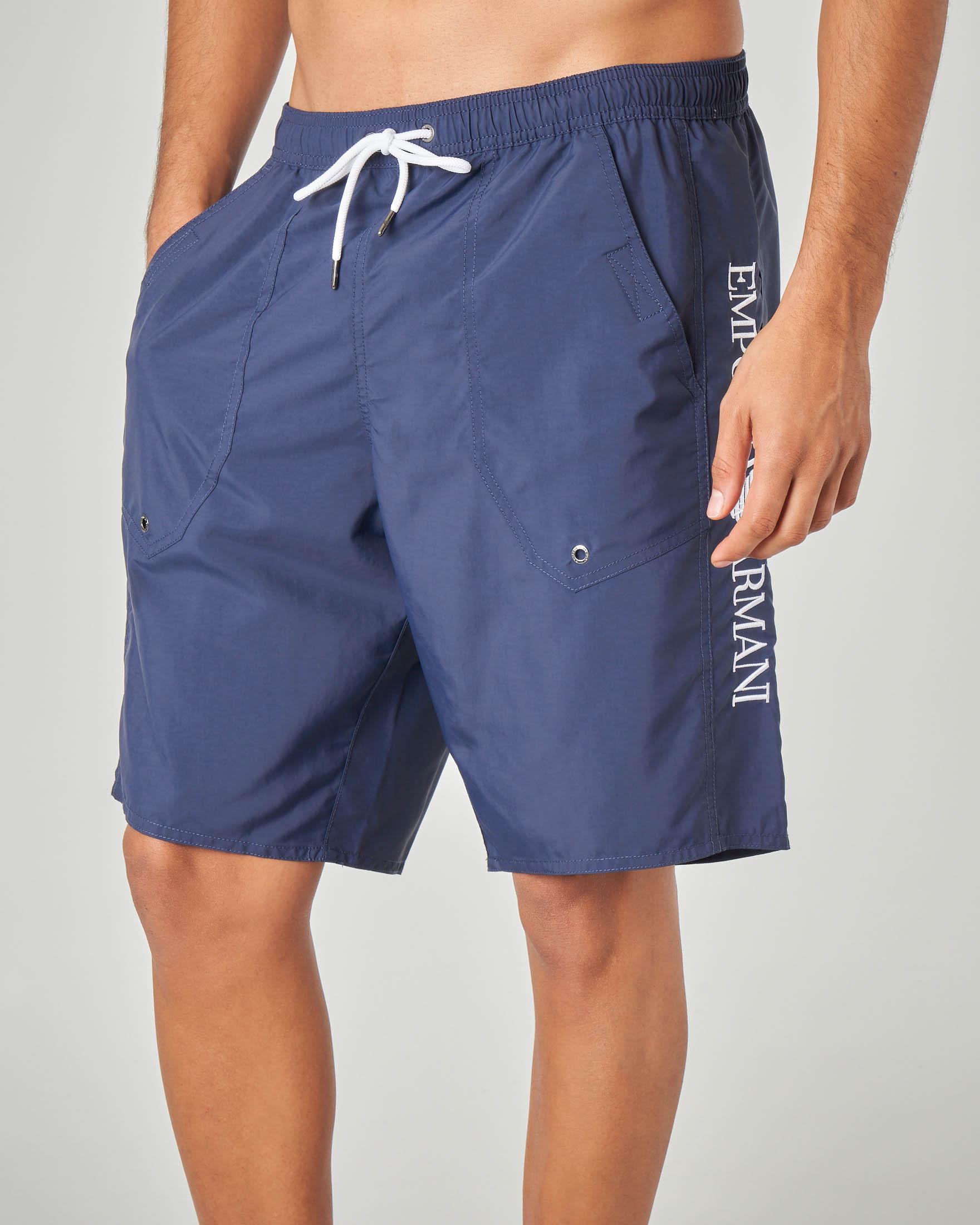 Costume boxer blu lungo con tasconi