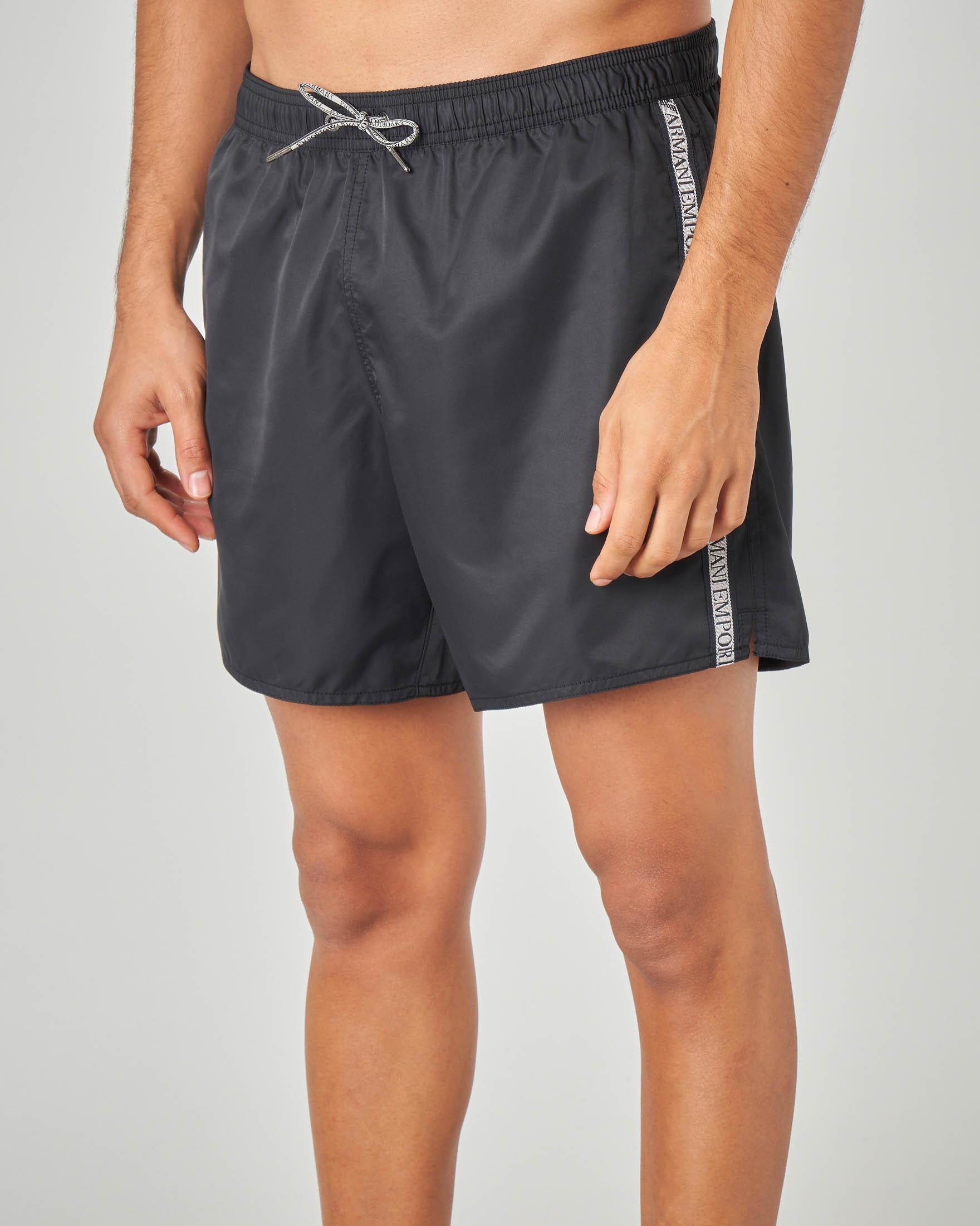 Costume boxer nero con bande logate