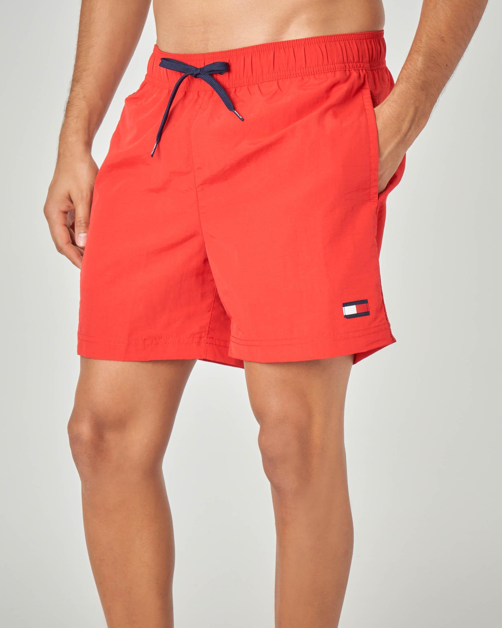 Costume boxer rosso con taschino e logo sul fianco
