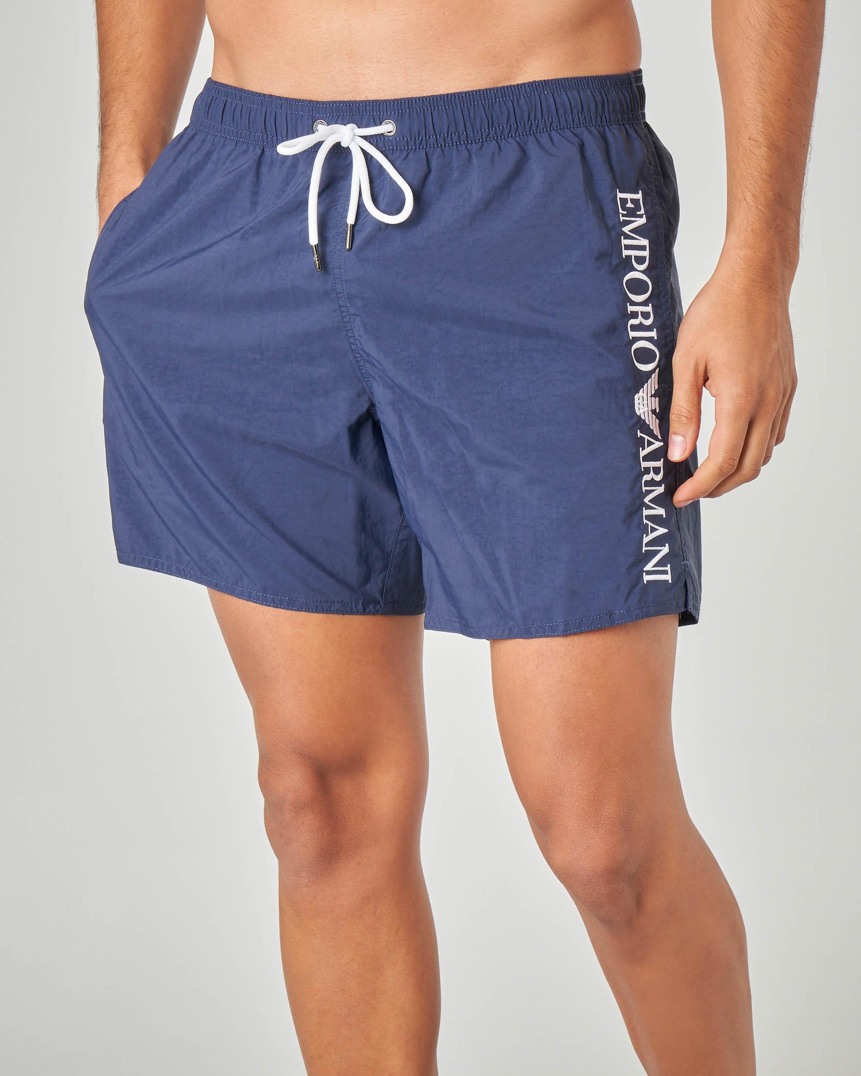 Costume boxer blu con logo ricamato in verticale
