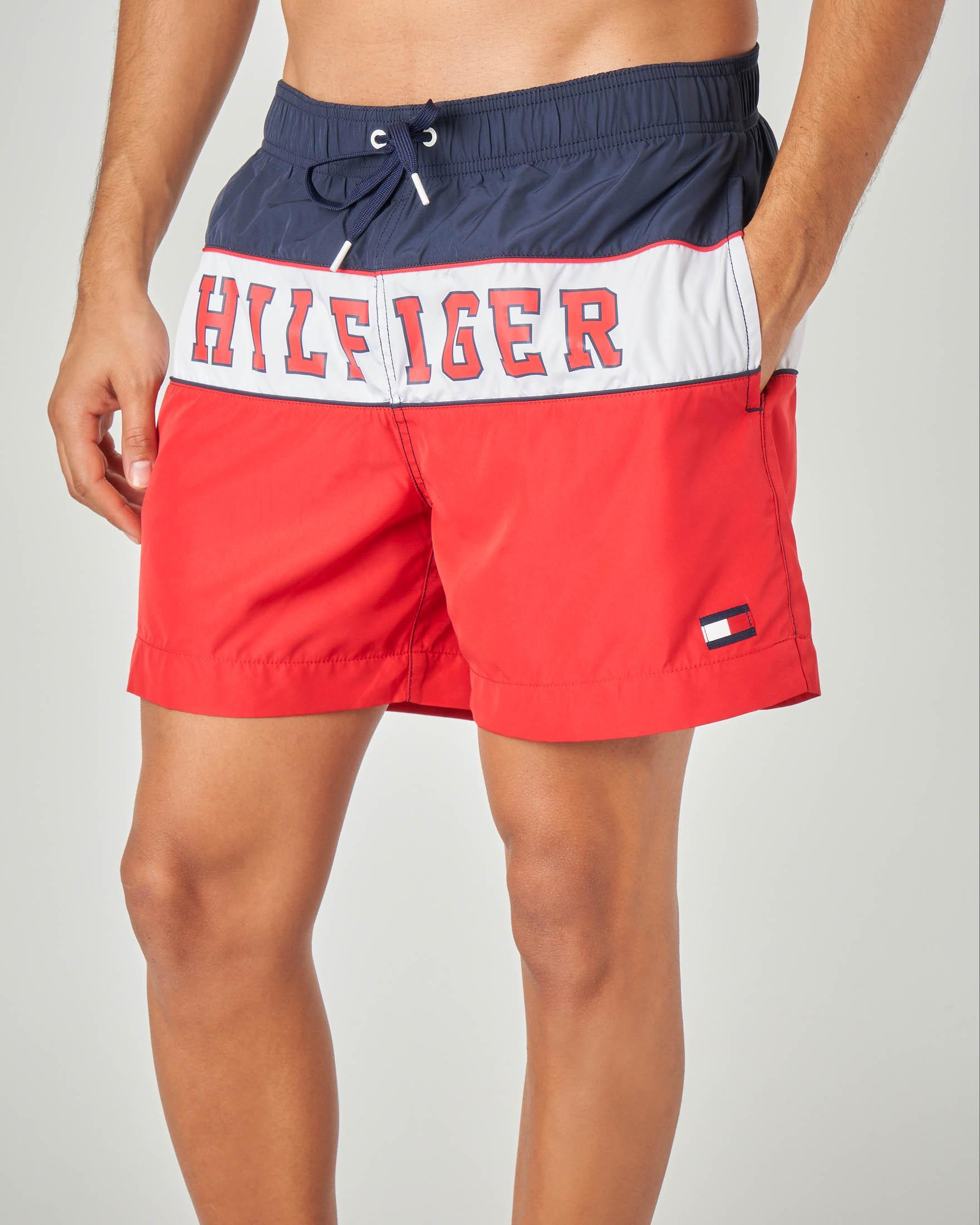 Costume boxer tricolore blu bianco e rosso con logo