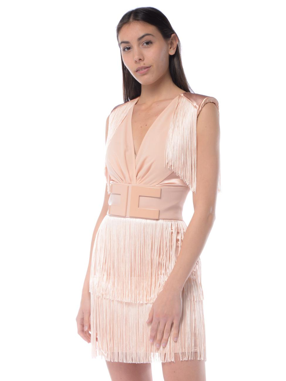f7f44d14aafd Abito corto donna Elisabetta Franchi frange e maxi logo rosa - RoncaStyle
