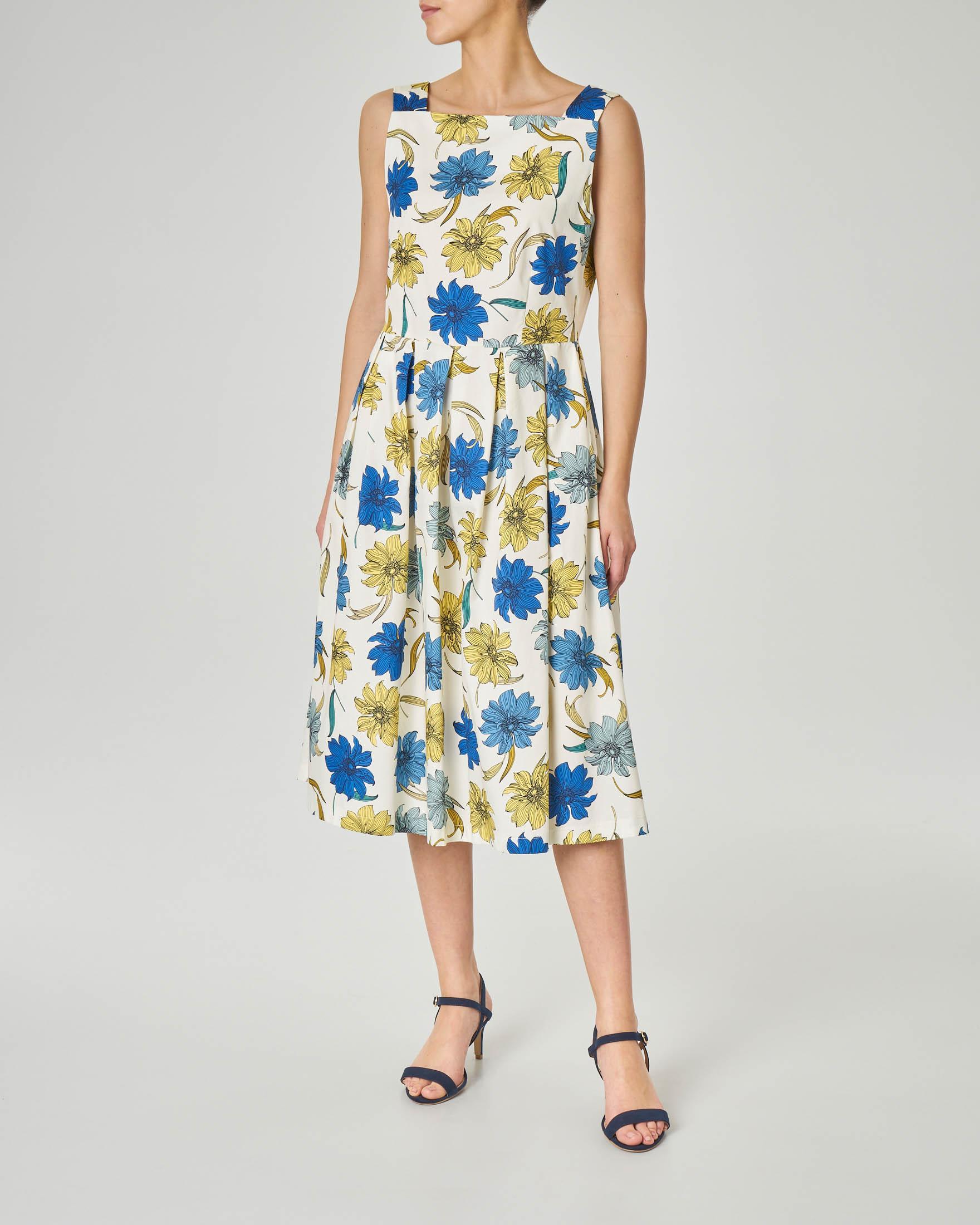 Abito midi bianco in cotone con stampa fiori gialli e blu e scollo squadrato