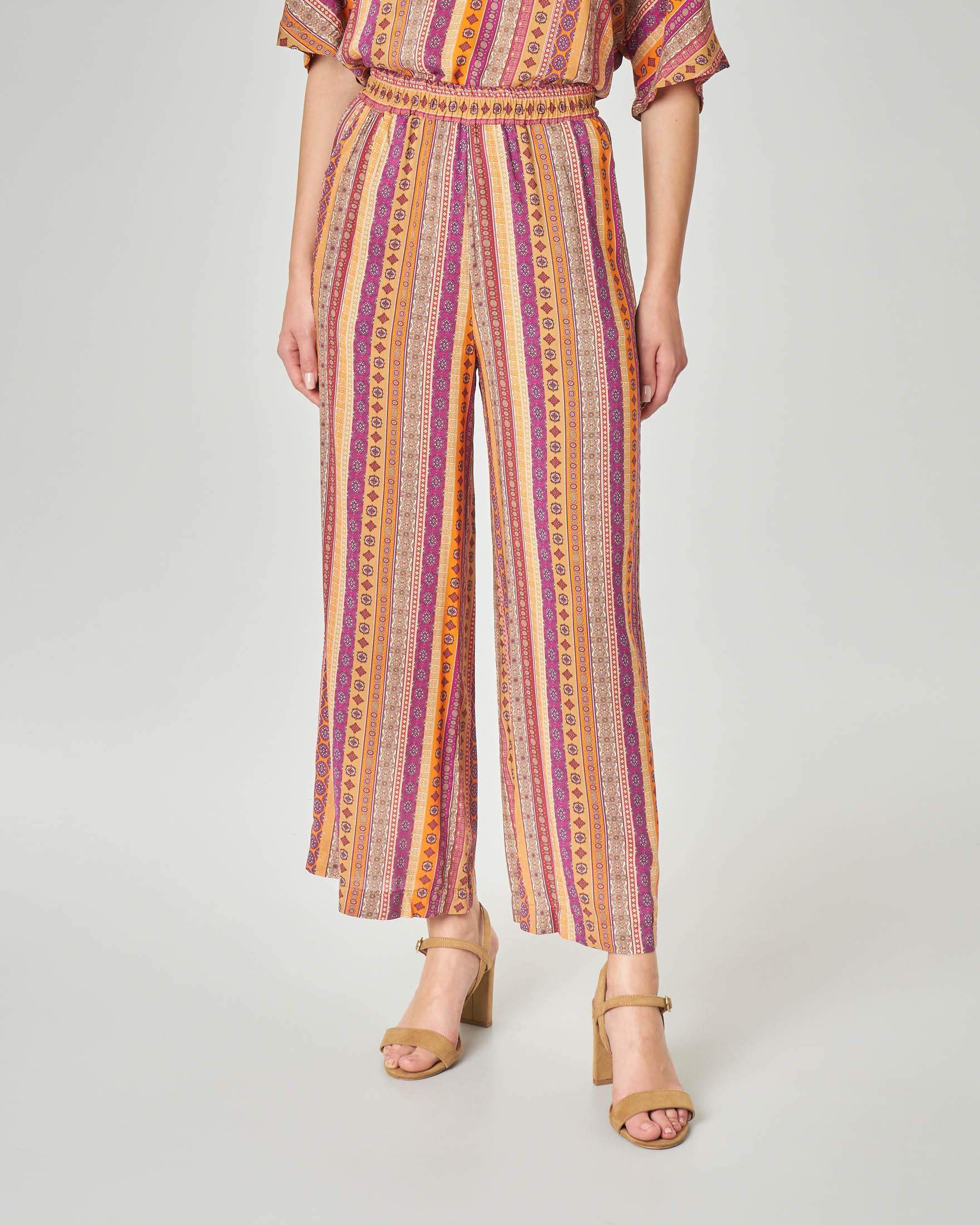Pantaloni culotte in viscosa con stampa disegni stile India arancioni e bordeaux