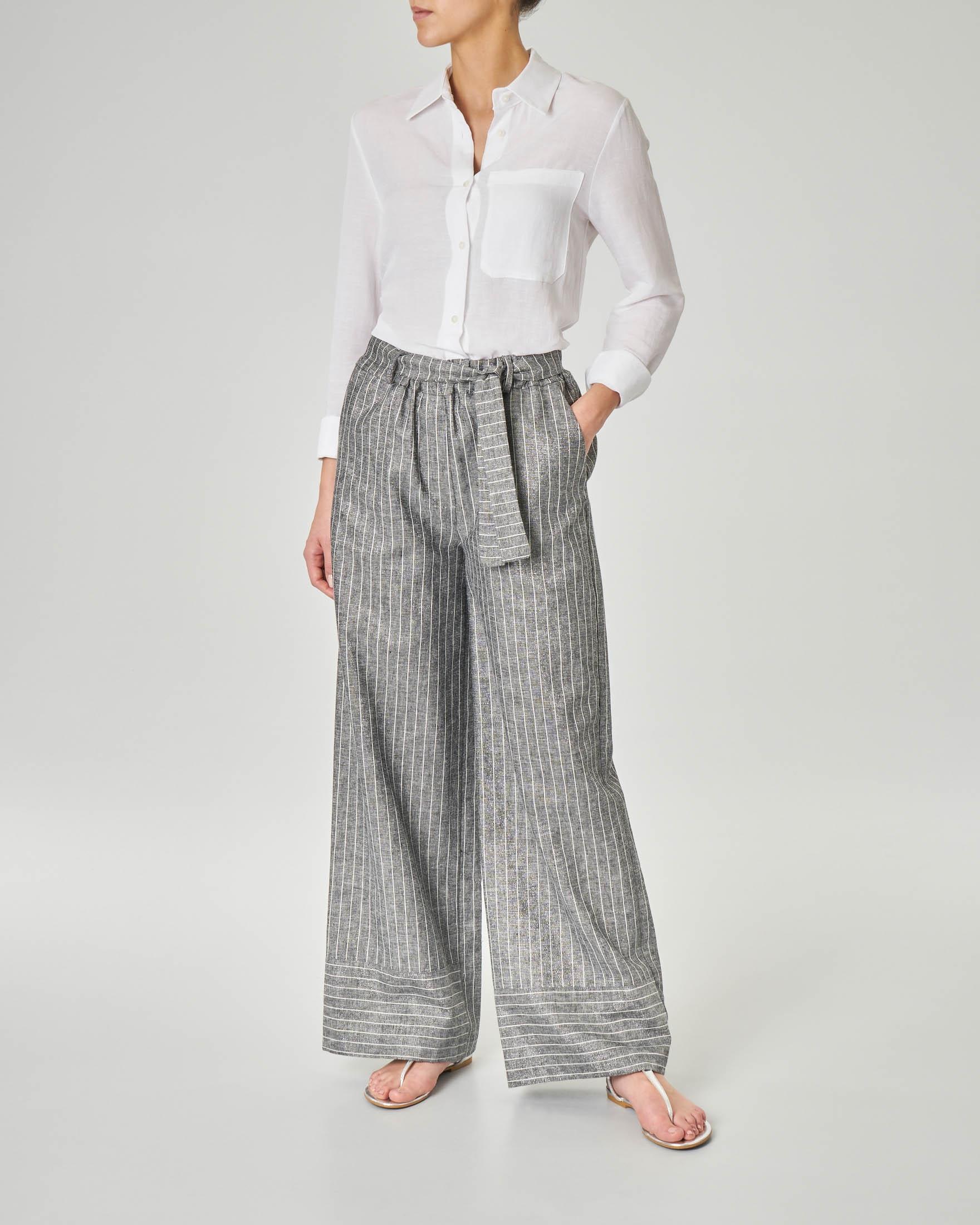 Pantaloni palazzo in viscosa e lino gessato con inserti in lurex