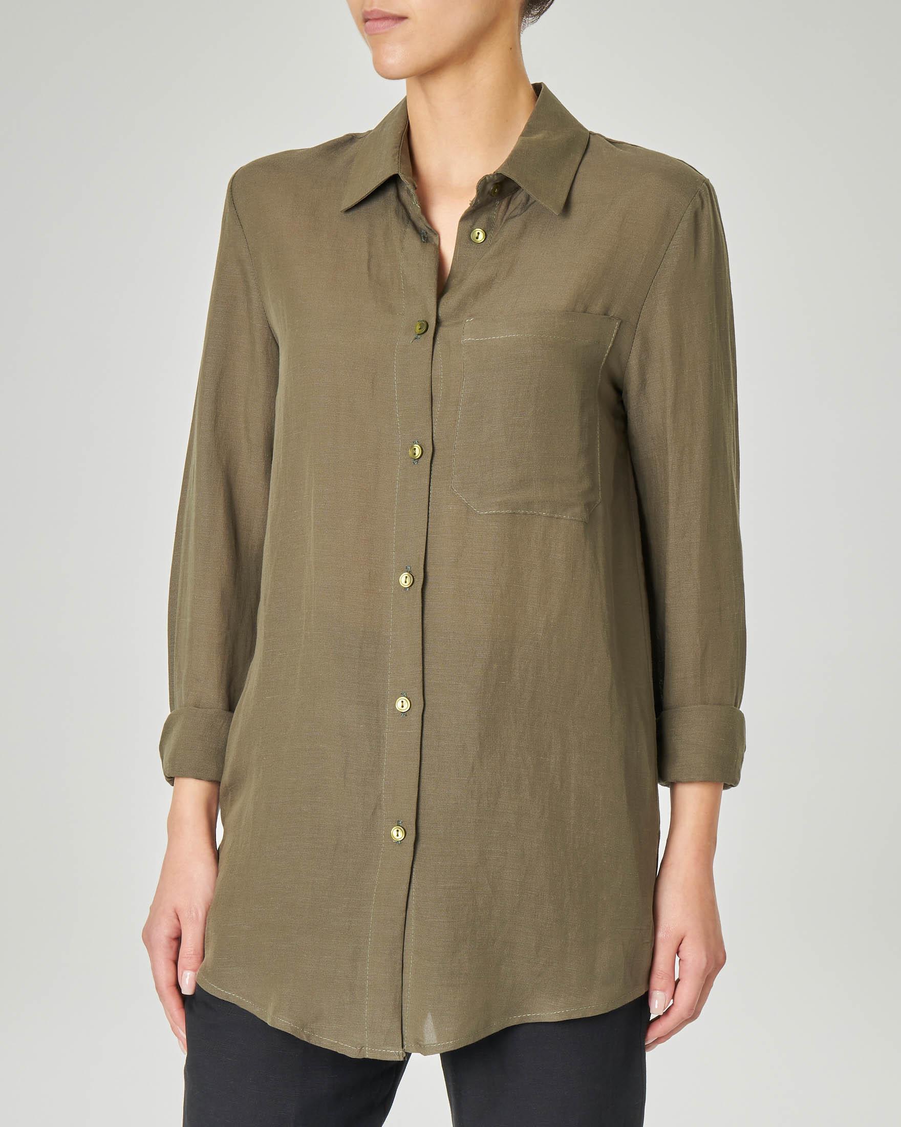 008ca4518efd Camicia verde militare in viscosa misto lino con taschino