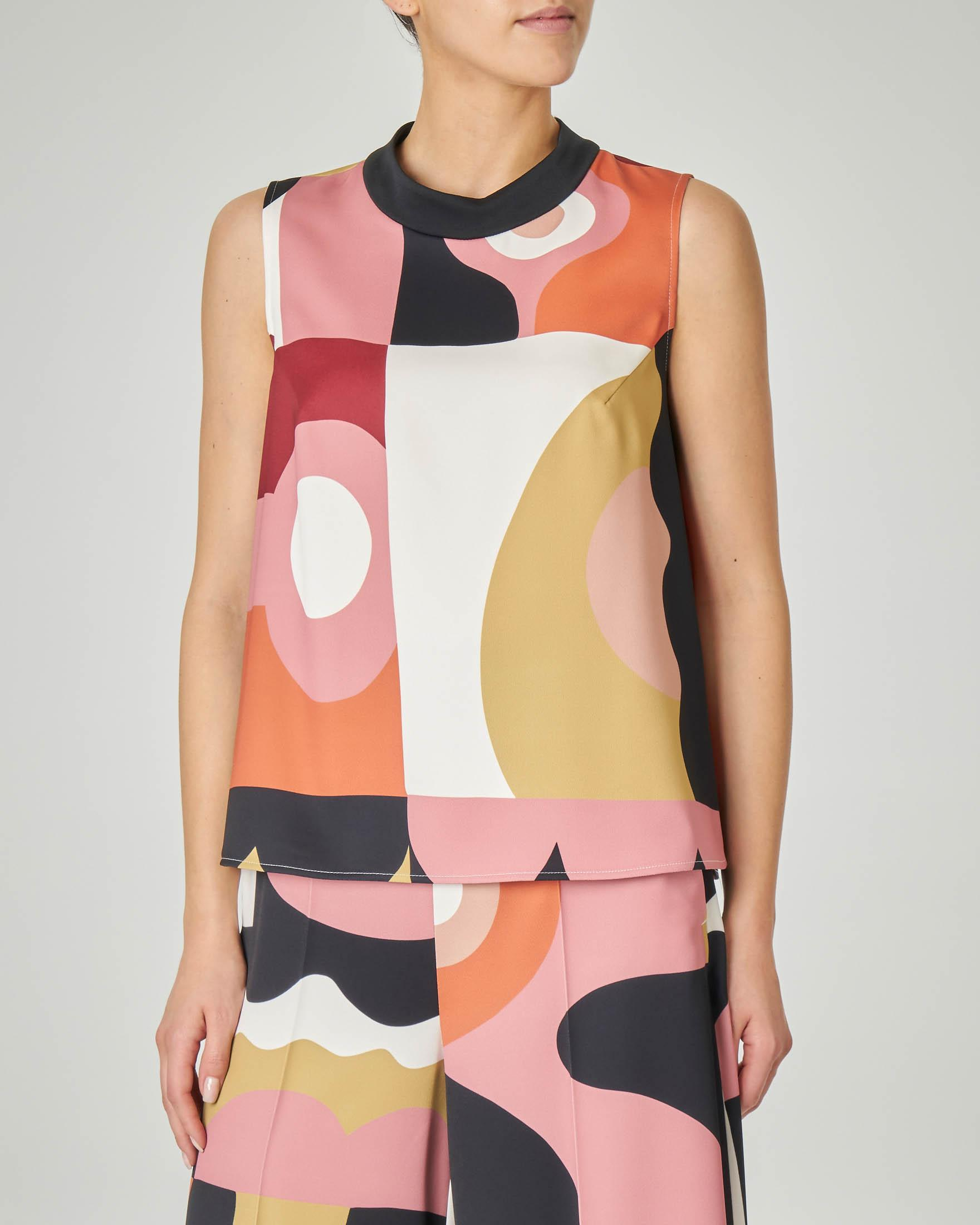 Blusa svasata LW x ART. 365 in crêpe a fantasia geometrica multicolor senza maniche