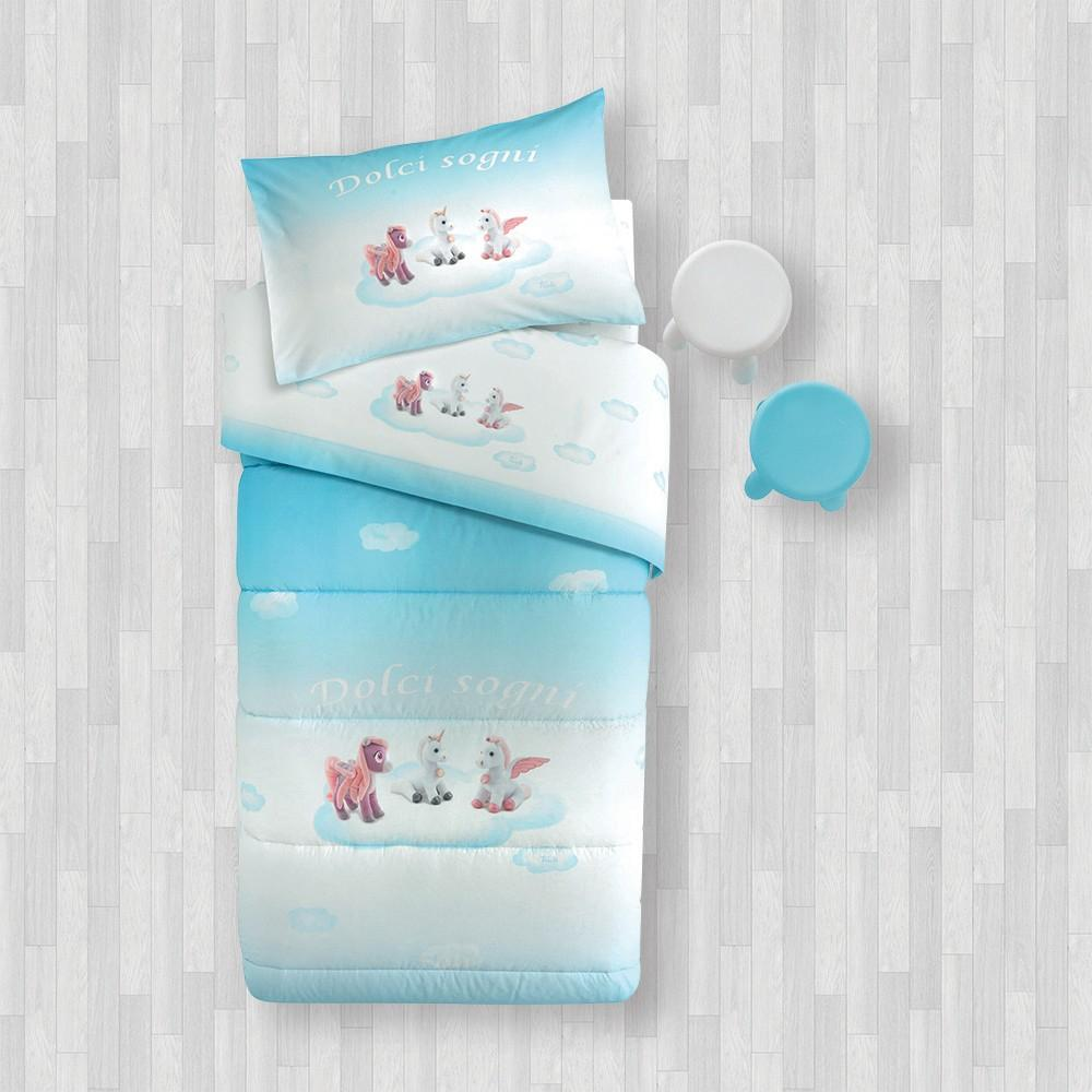 Biancheria Da Letto Trudi.Sheet Set 1 Square Gabel Trudi Pony Light Blue Digital Print