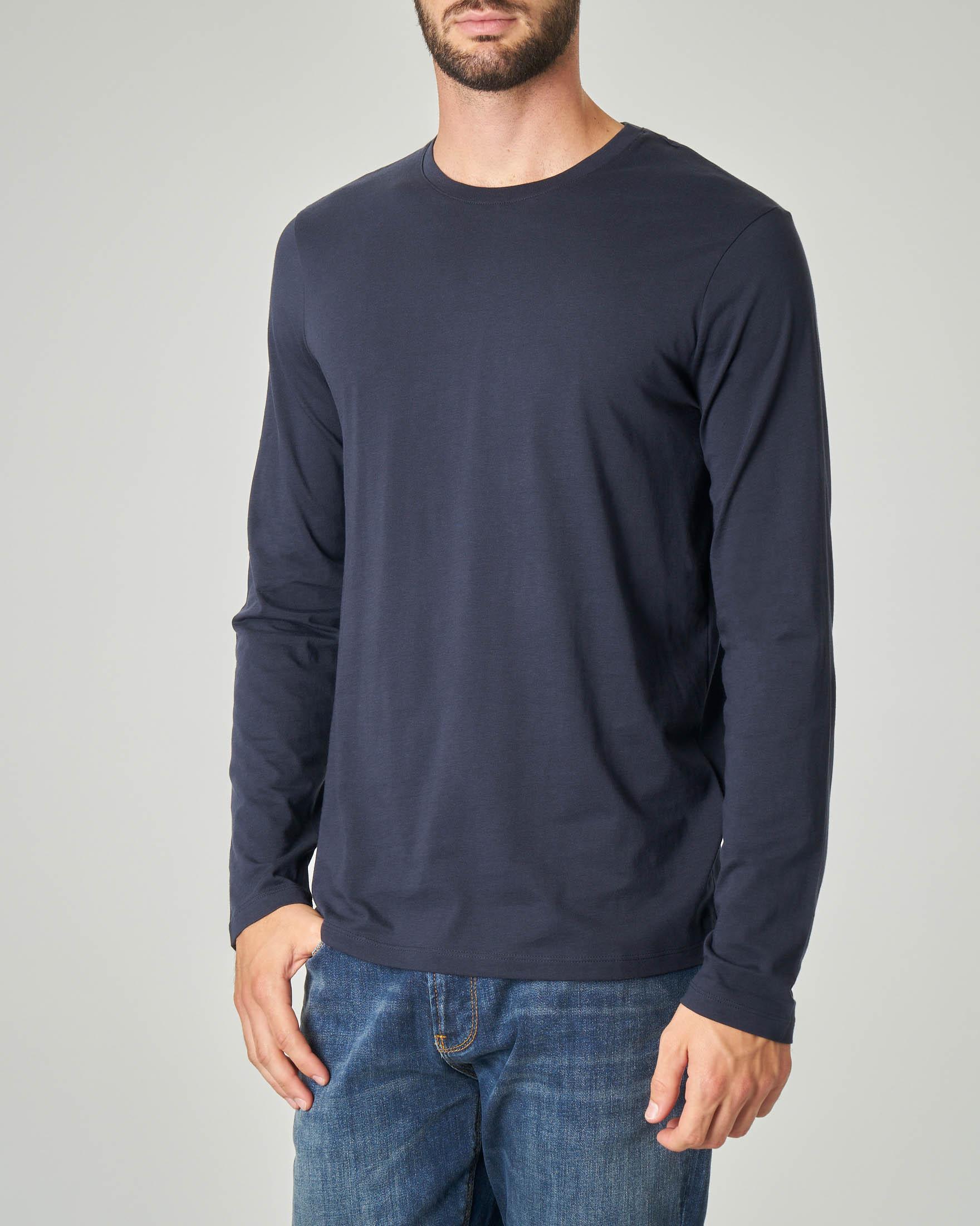 T-shirt blu a manica lunga in pima cotton