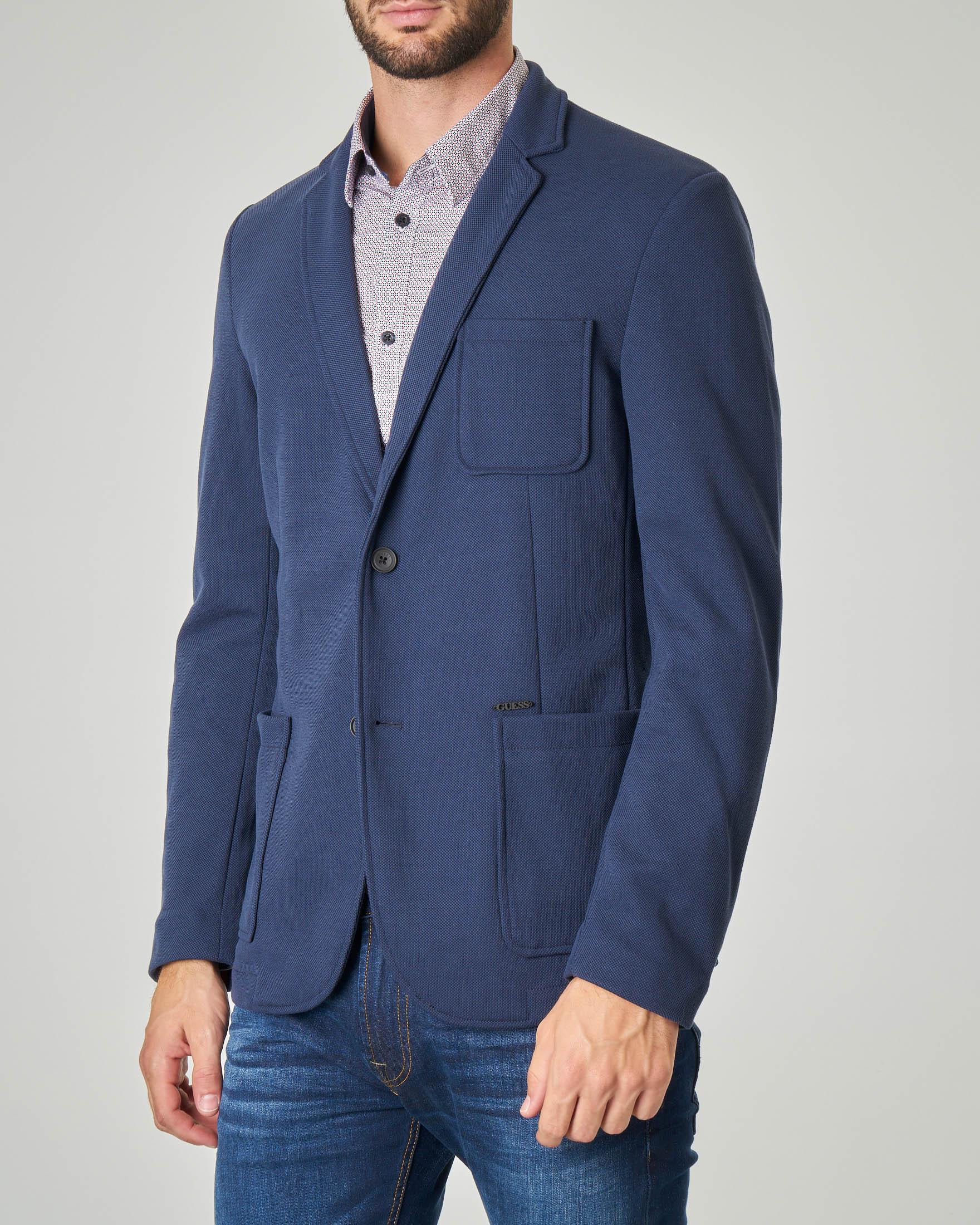 Giacca maglia blu in tessuto piquet