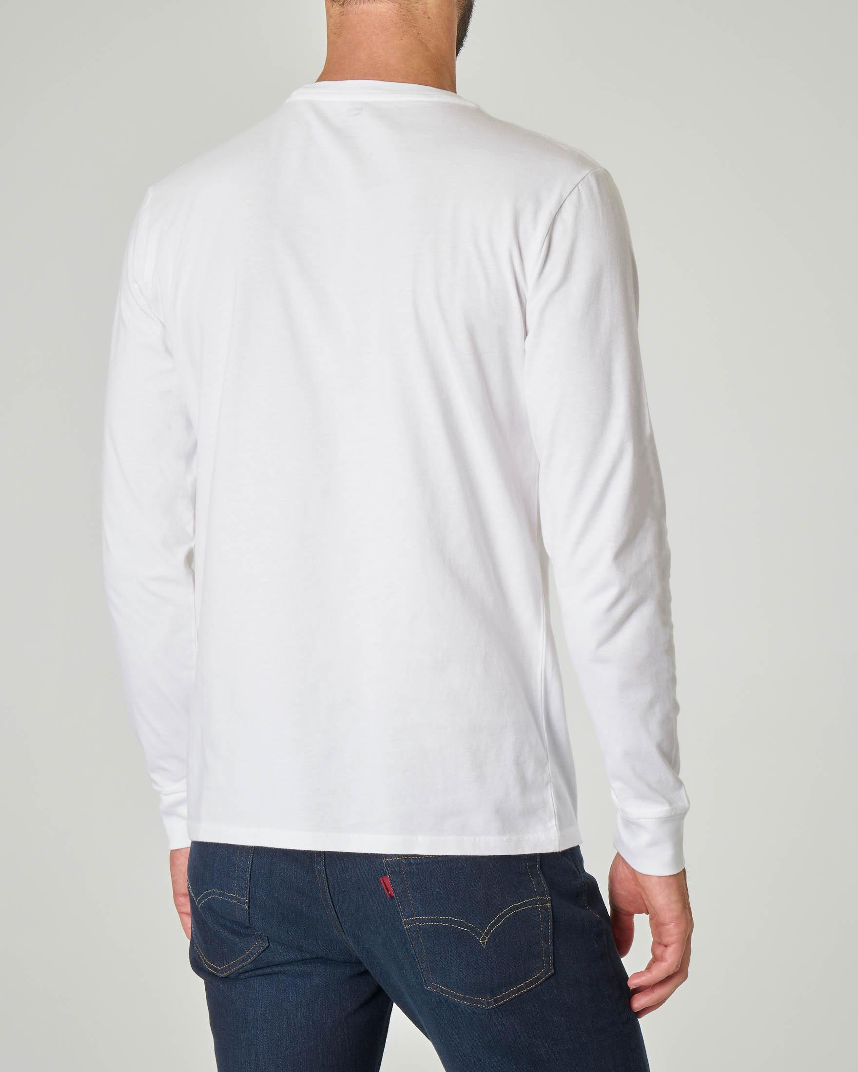 T-shirt bianca manica lunga con logo batwing