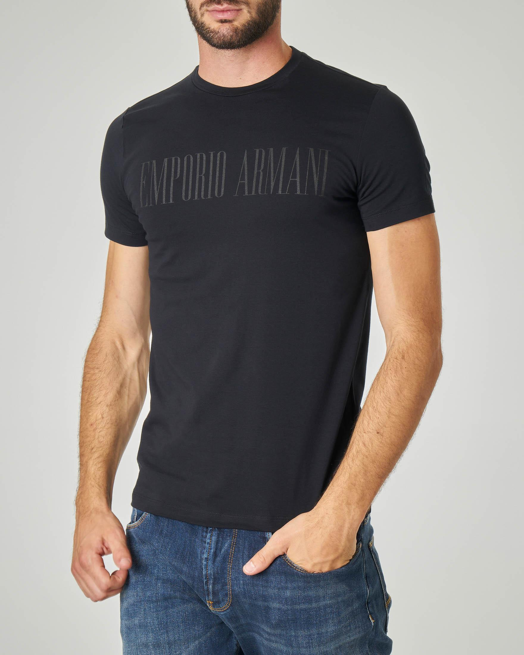 T-shirt nero in cotone stretch con logo stampato