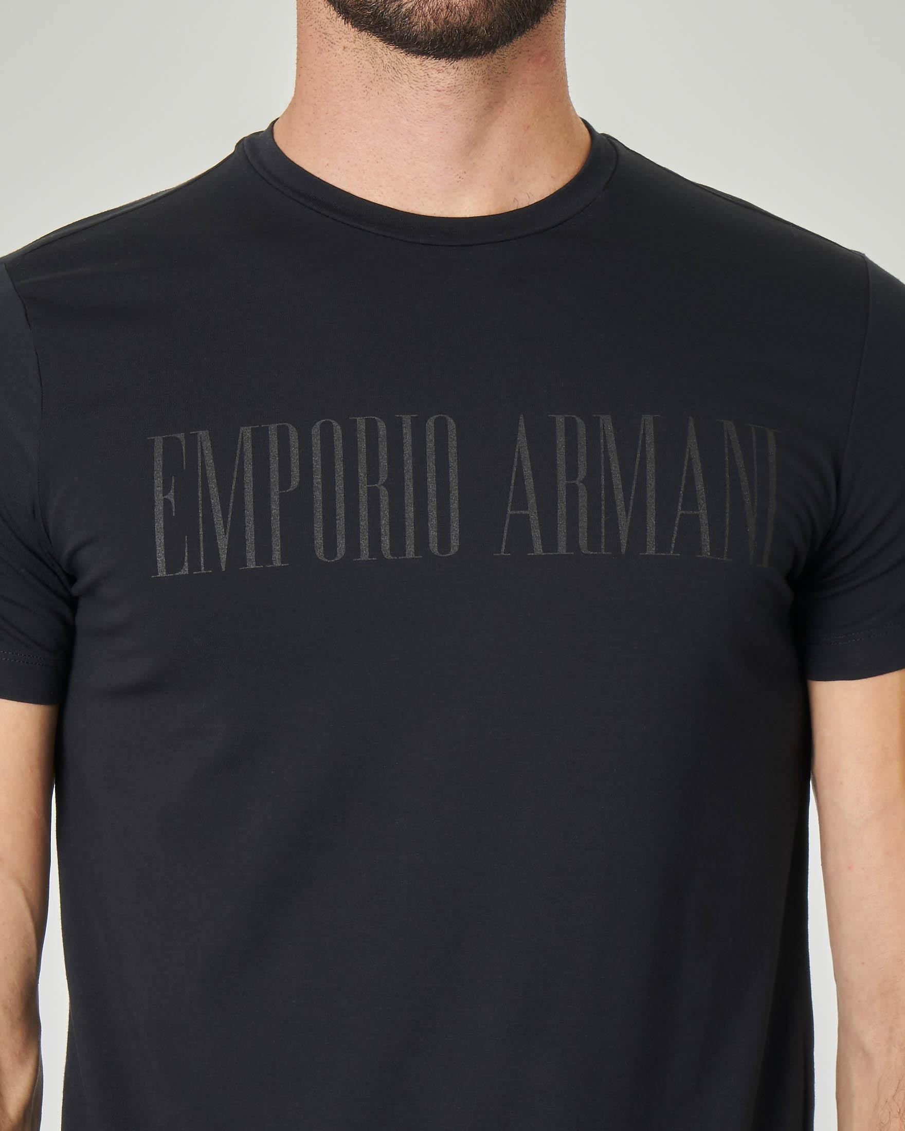T-shirt nero in cotone stretch con logo stampato