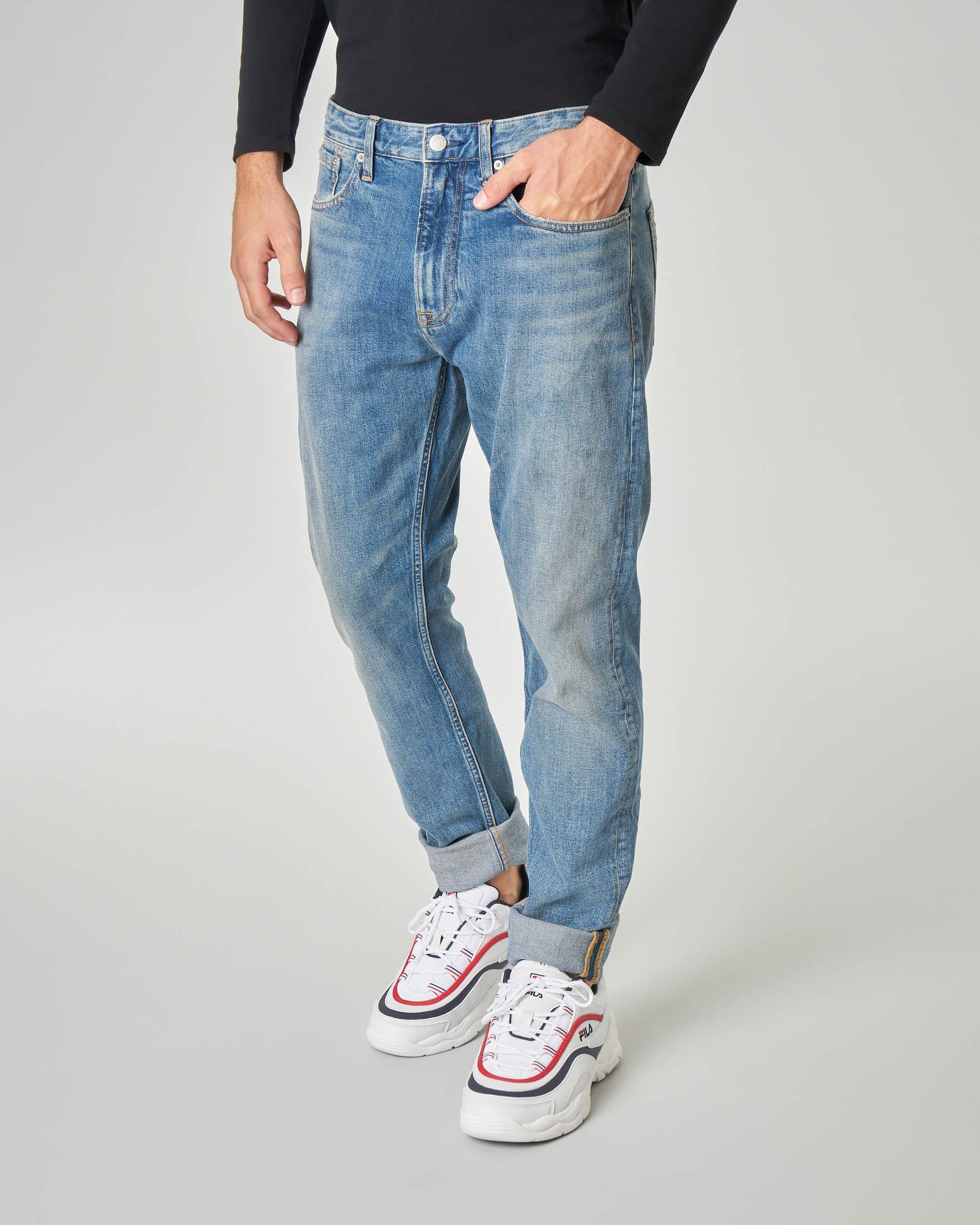 Jeans tapered lavaggio super stone wash