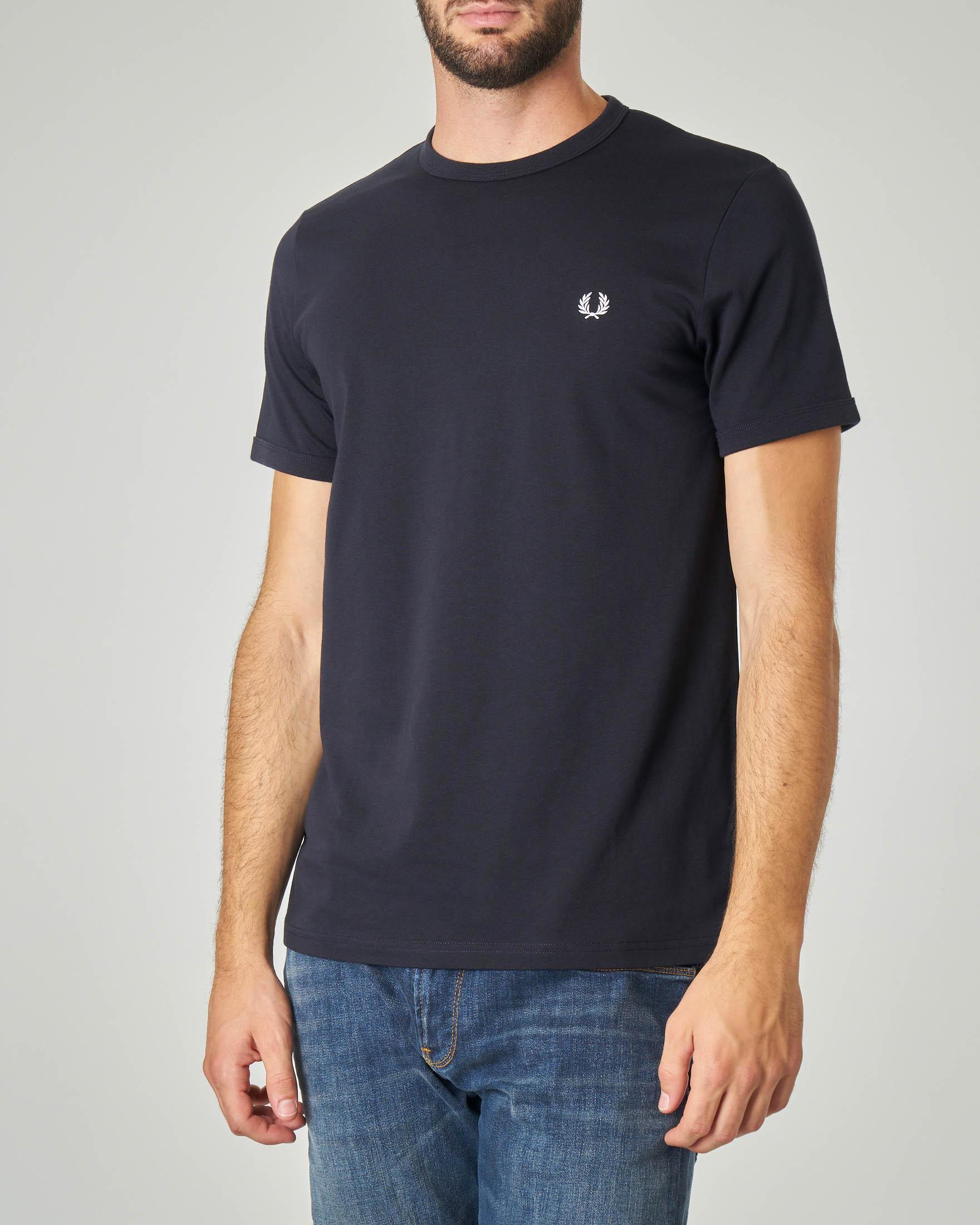 T-shirt blu con logo piccolo ricamato
