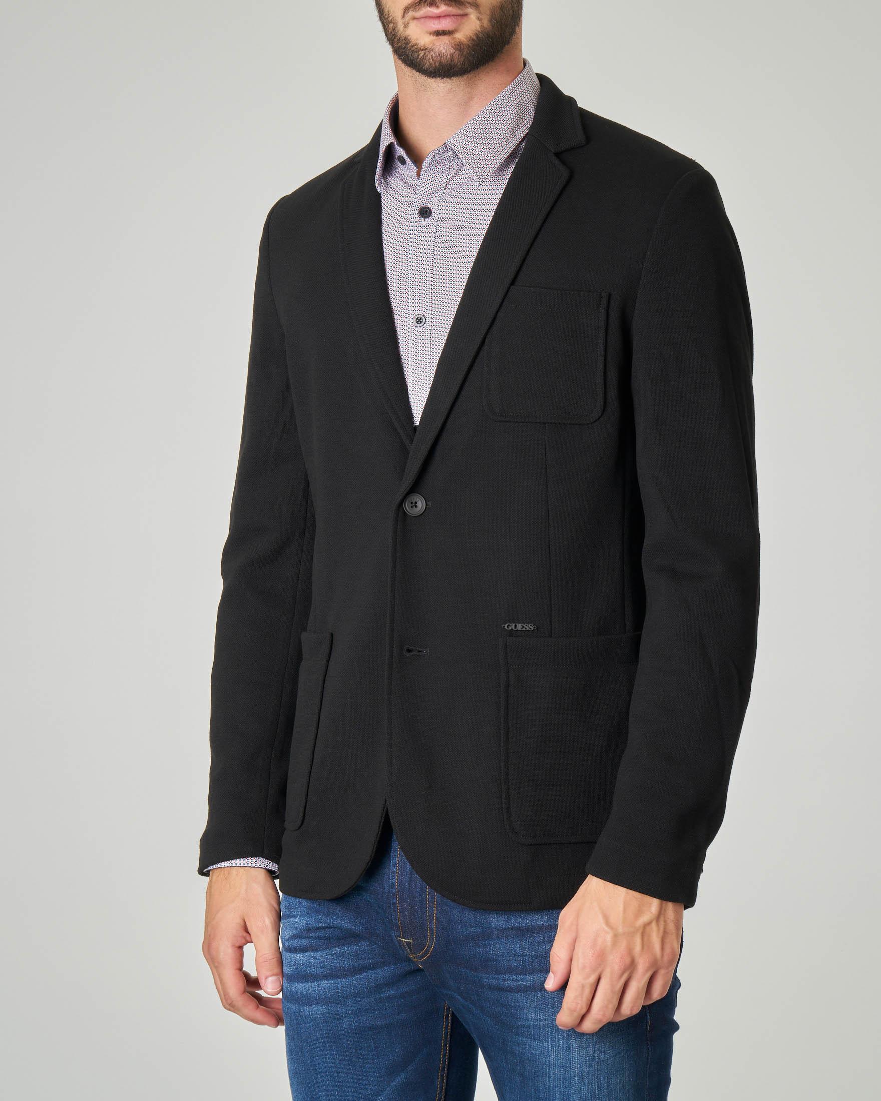 Giacca maglia nera in tessuto piquet
