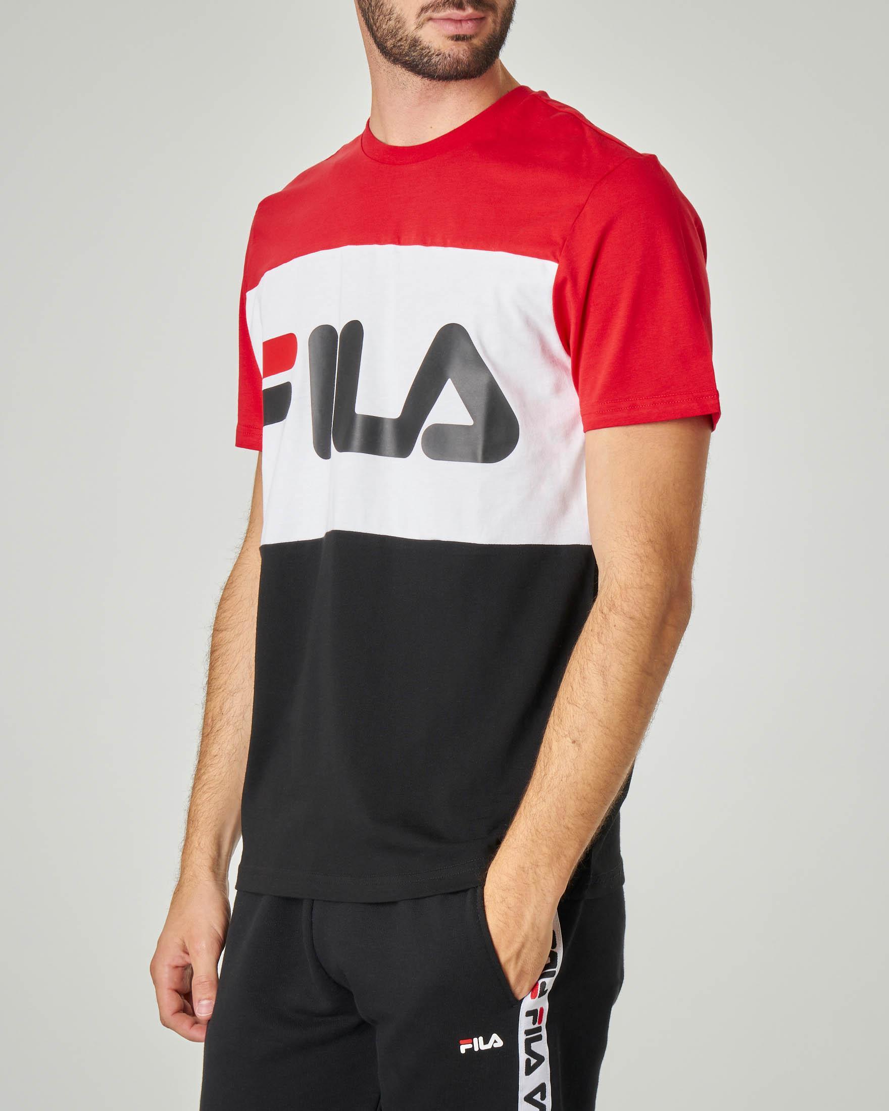 T-shirt tricolore rossa bianca e nera con logo