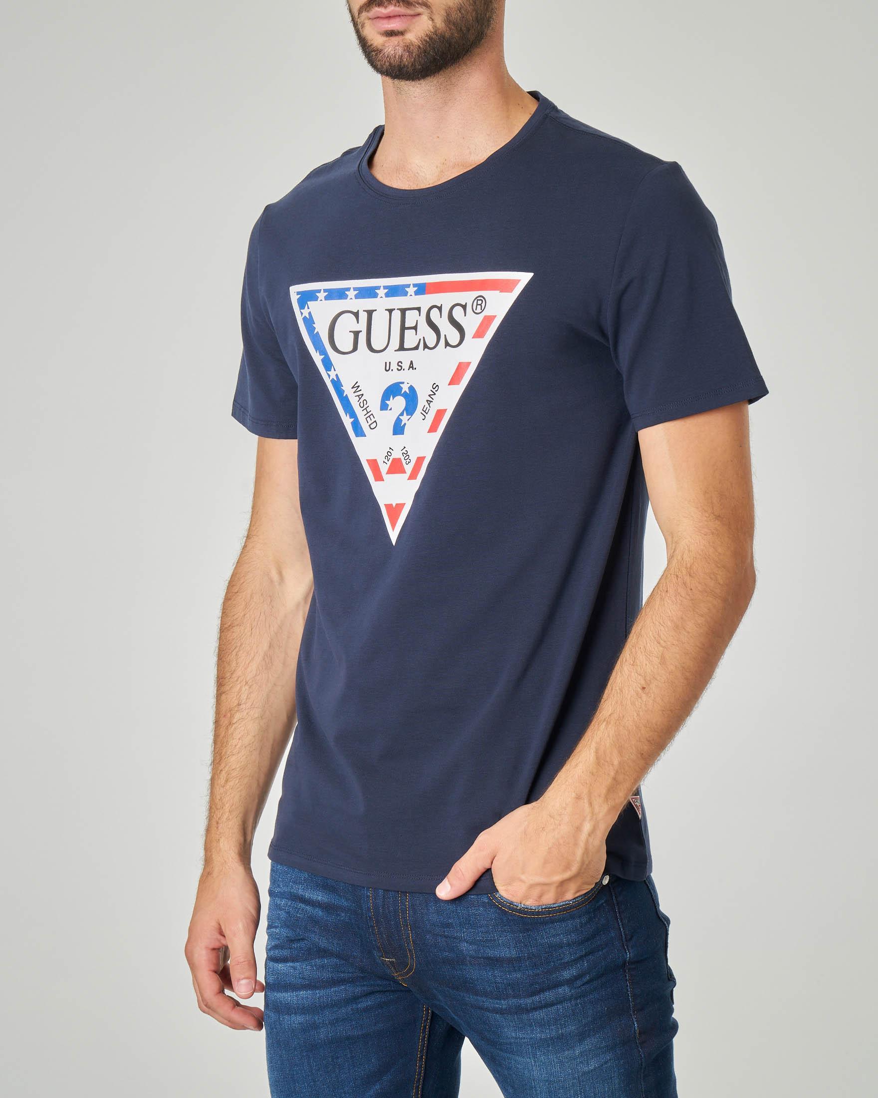 T-shirt blu con logo triangolo USA in cotone stretch