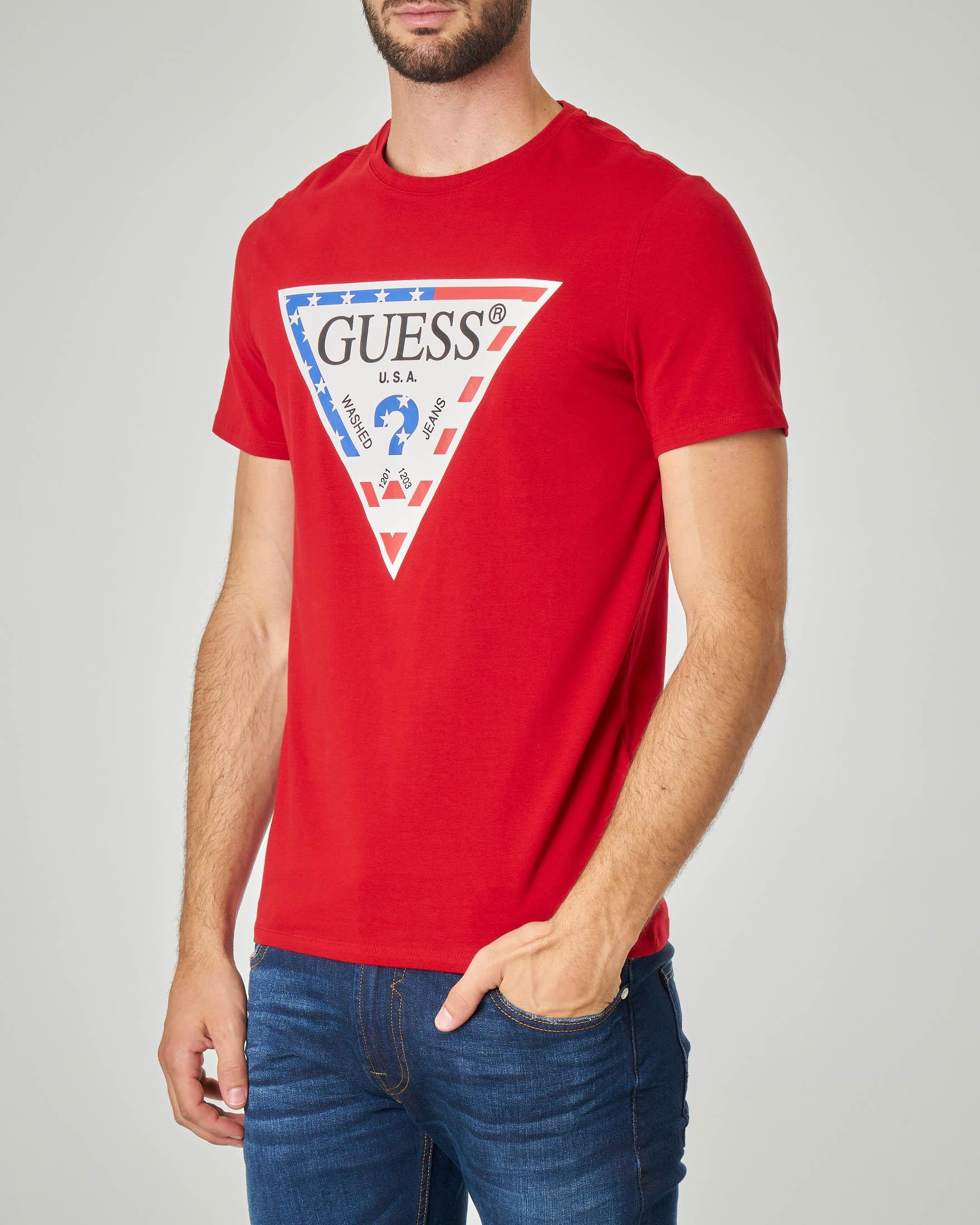 T-shirt rossa con logo triangolo USA in cotone stretch