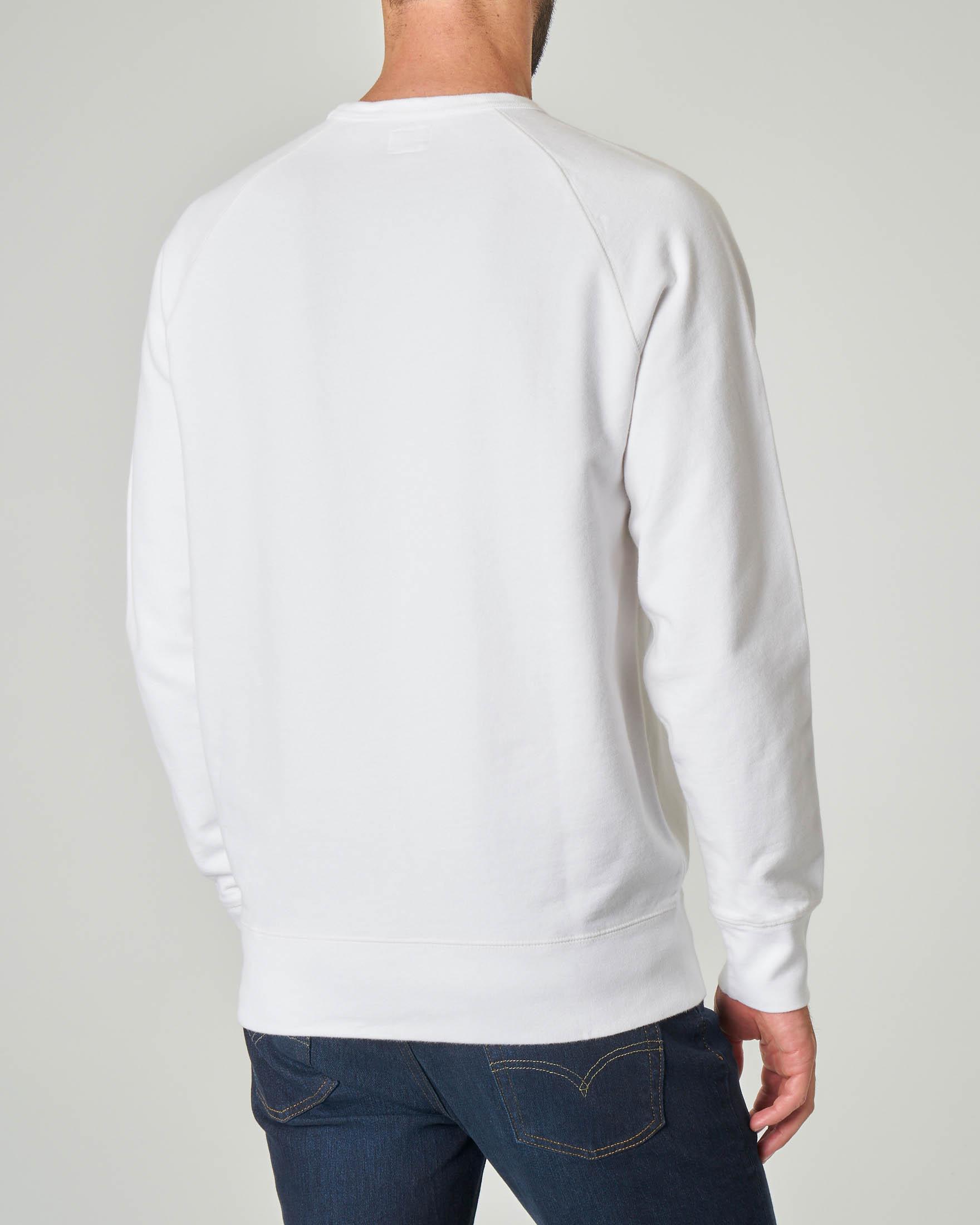 Felpa bianca girocollo con logo batwing piccolo
