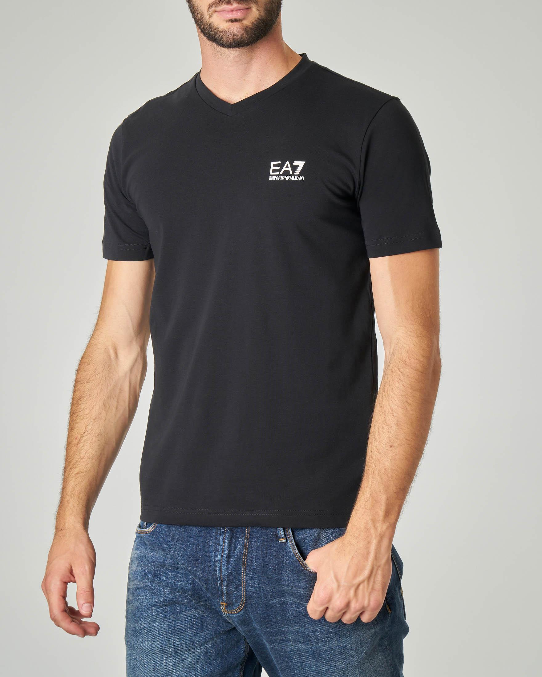 T-shirt nera in cotone stretch con logo piccolo gommato