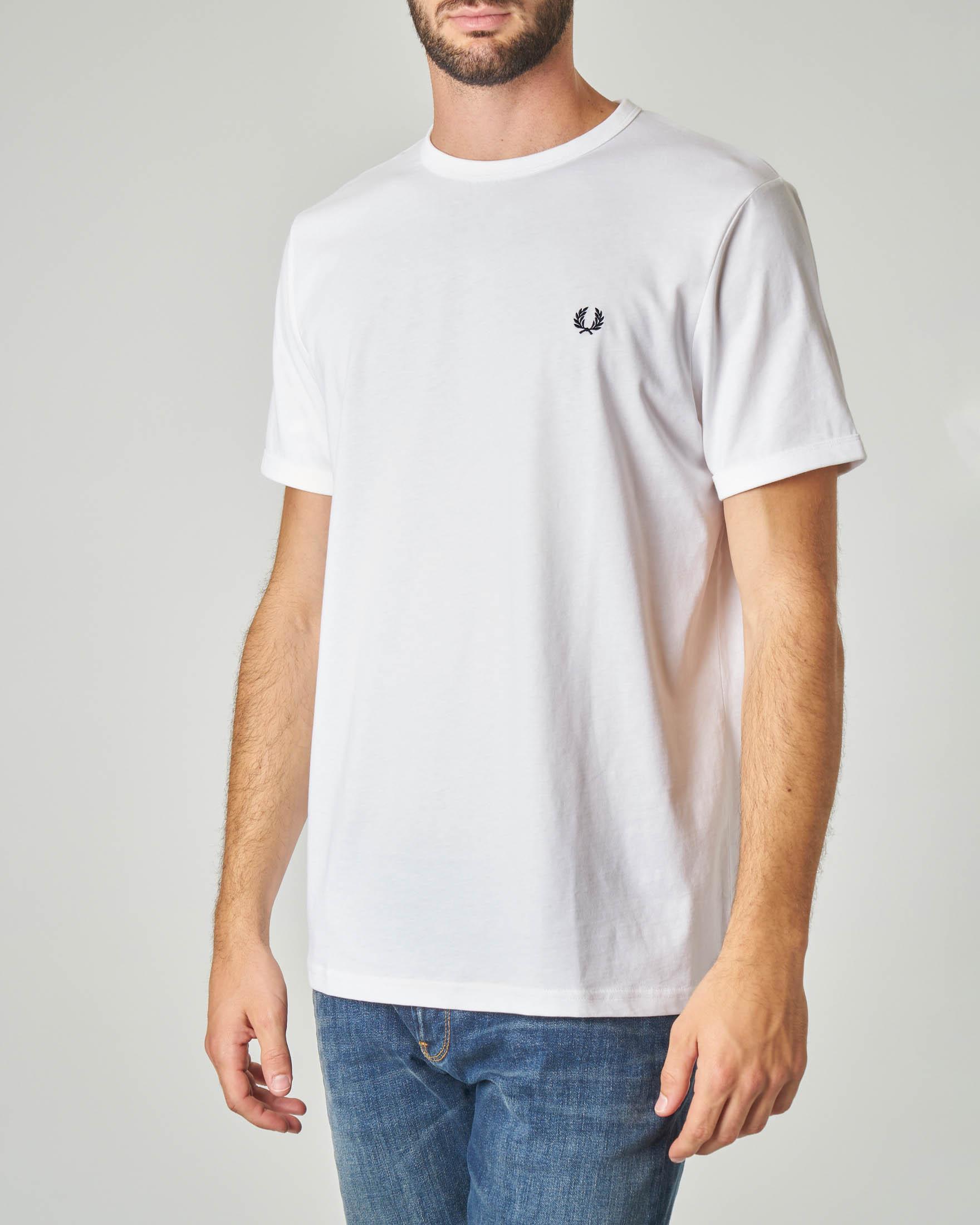 T-shirt bianca con logo piccolo ricamato