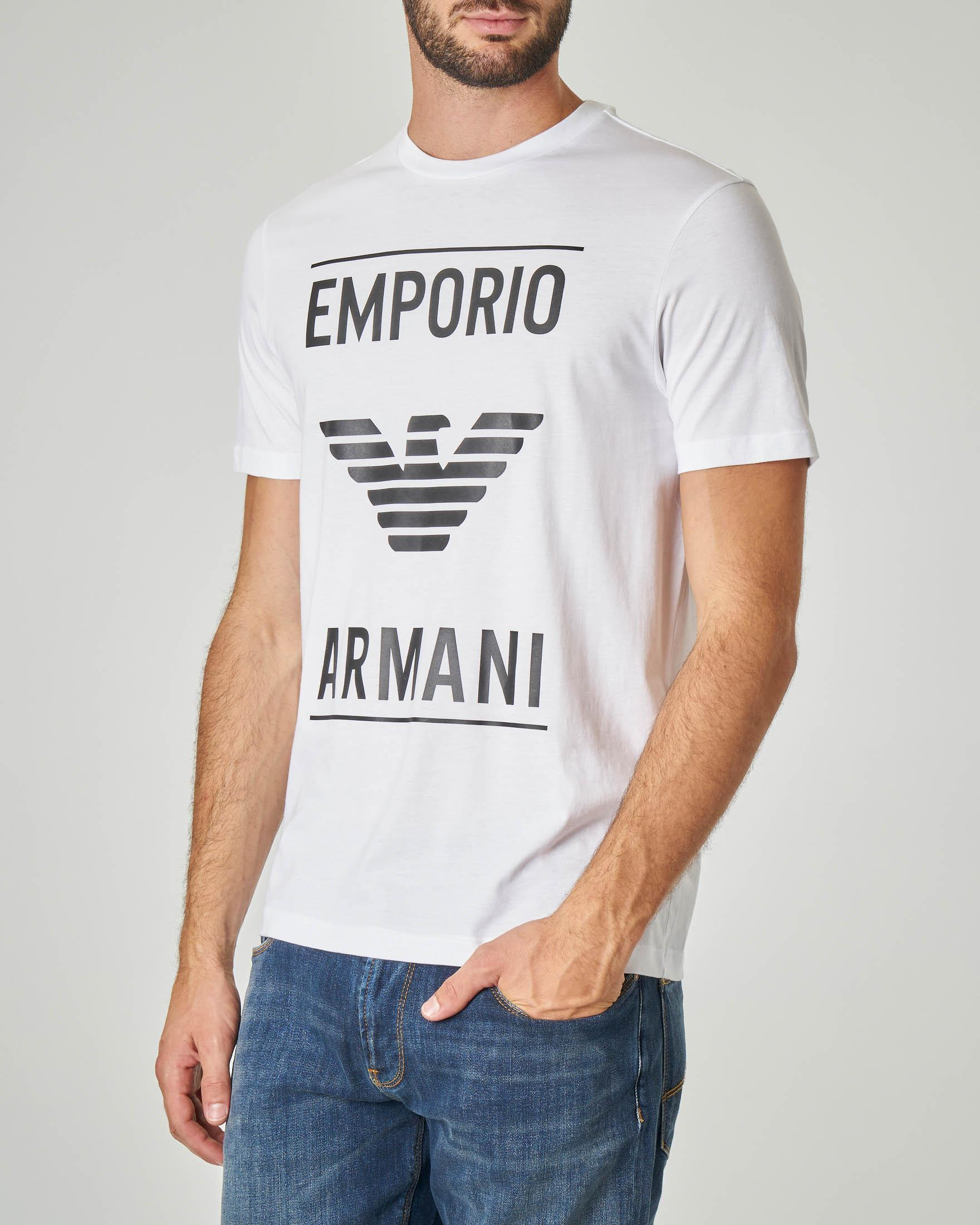 T-shirt bianca con logo e aquila grandi gommati