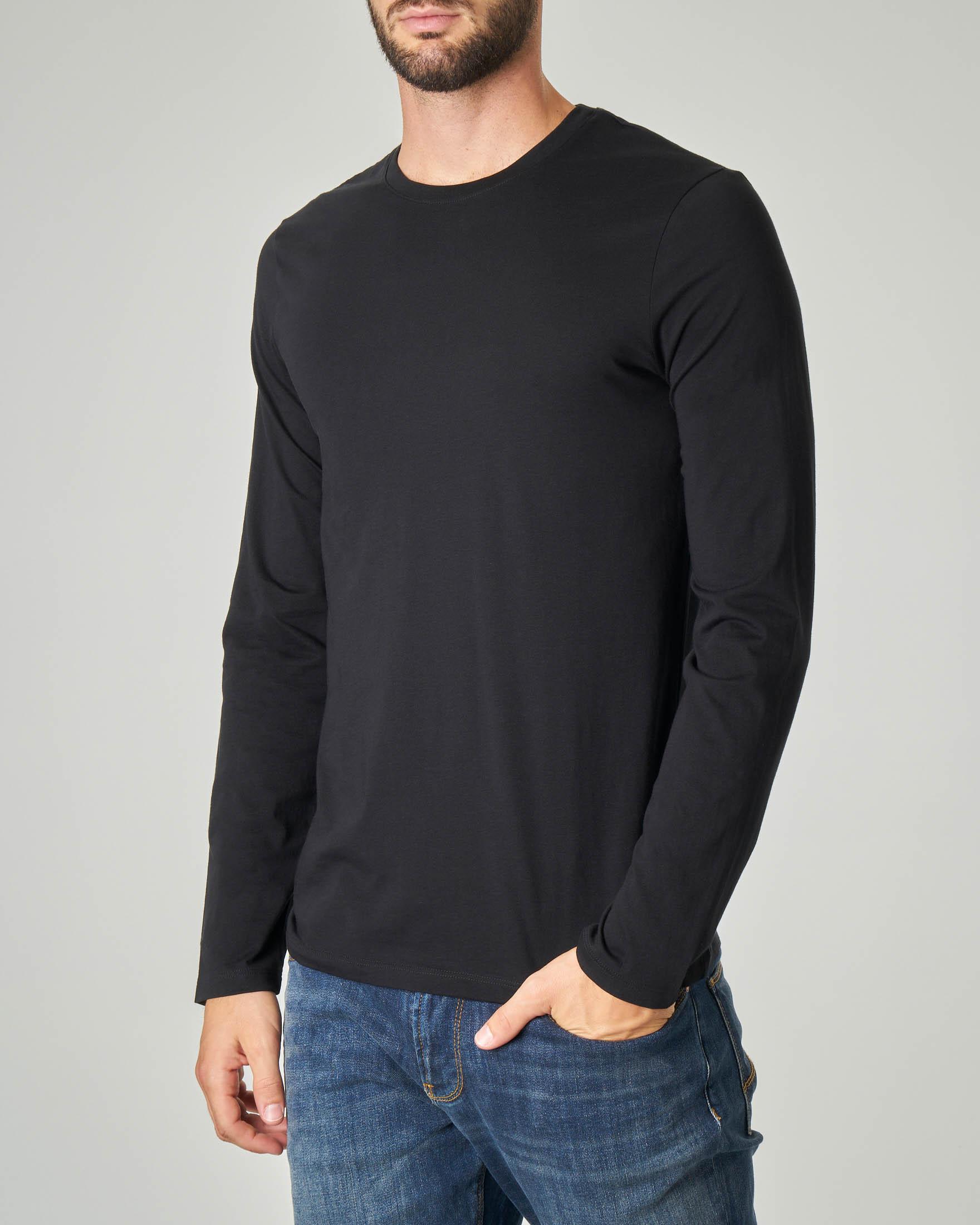 T-shirt nera a manica lunga in pima cotton