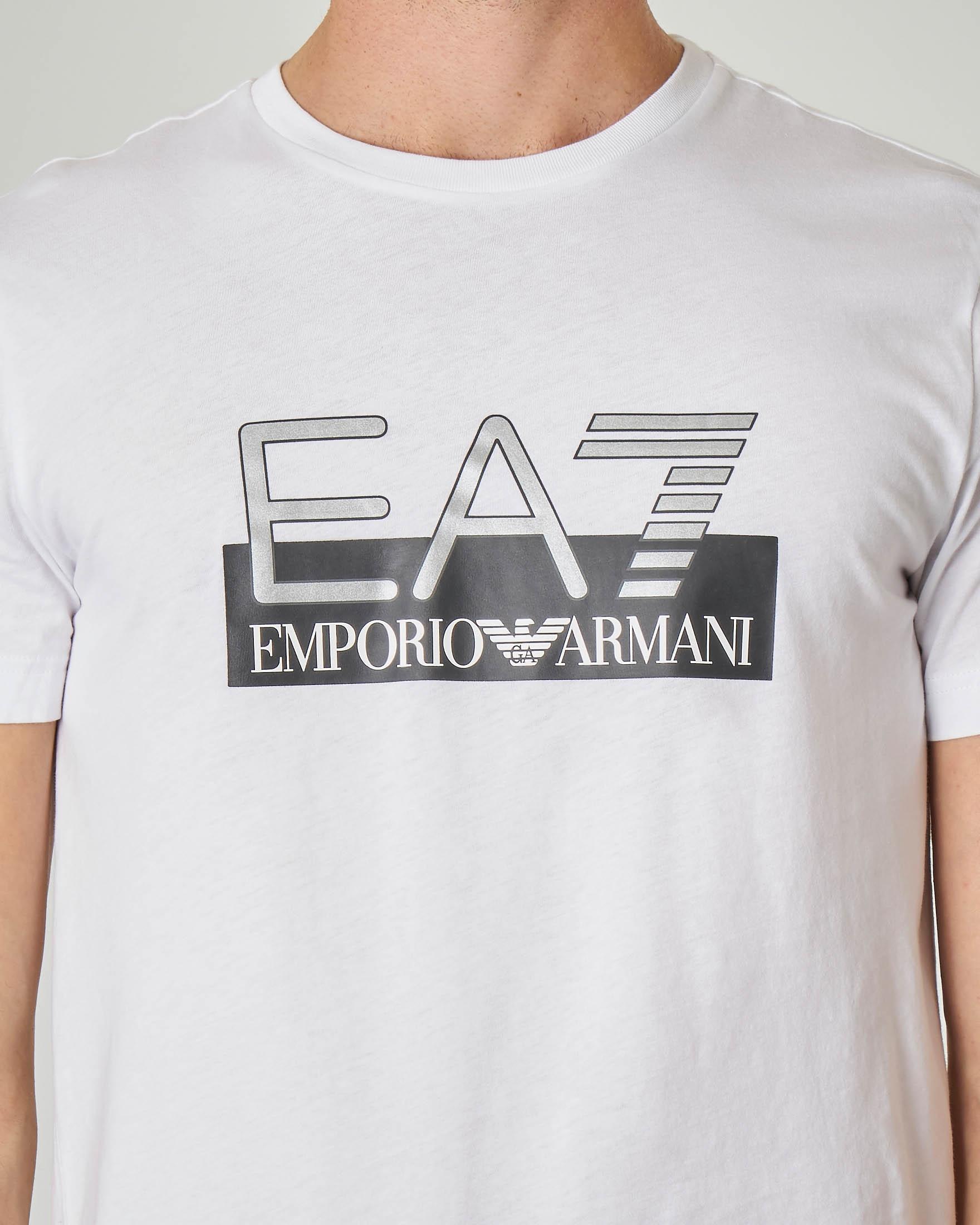 T-shirt bianca con logo EA7 argento sul petto
