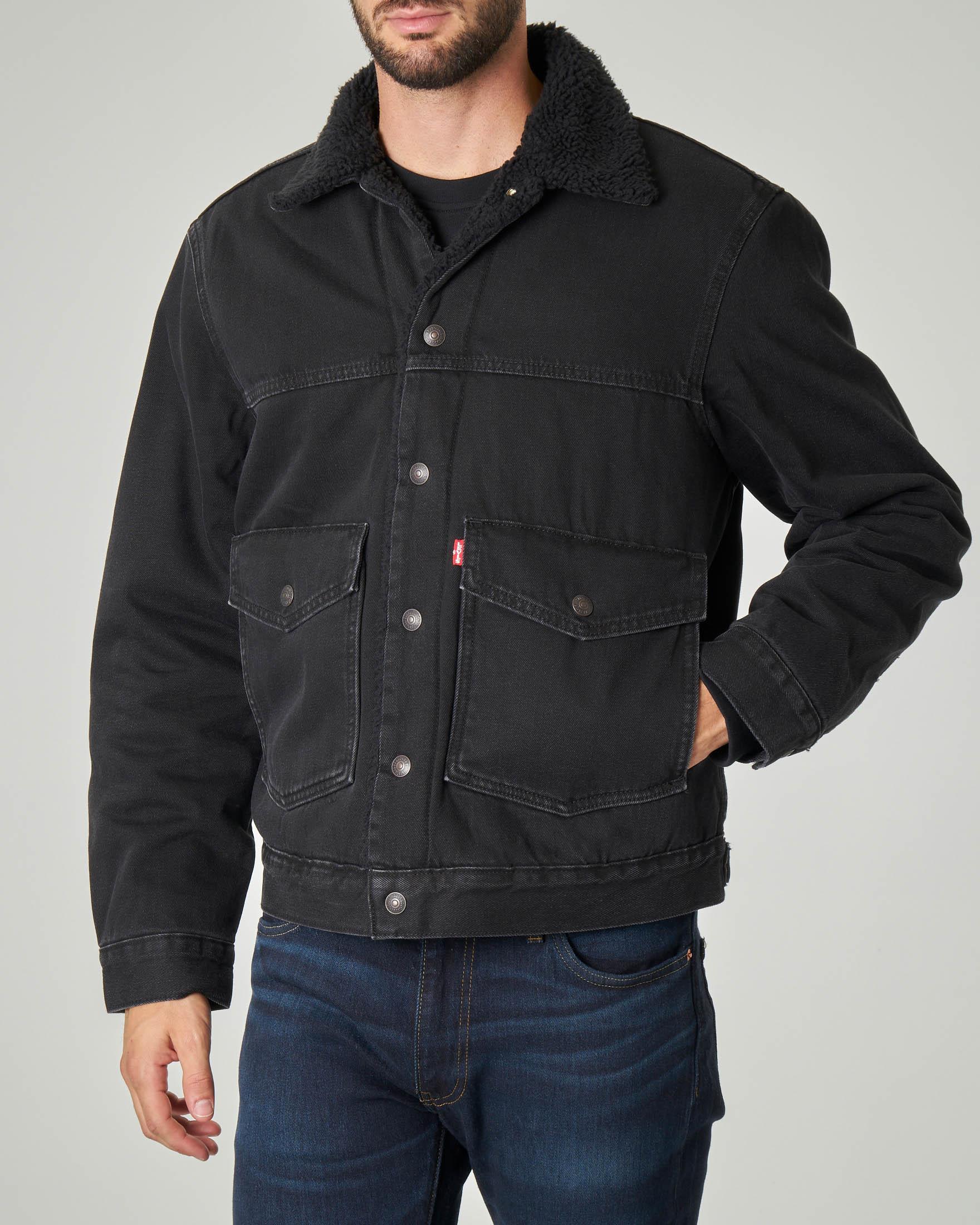 Sherpa Trucker Jacket nera