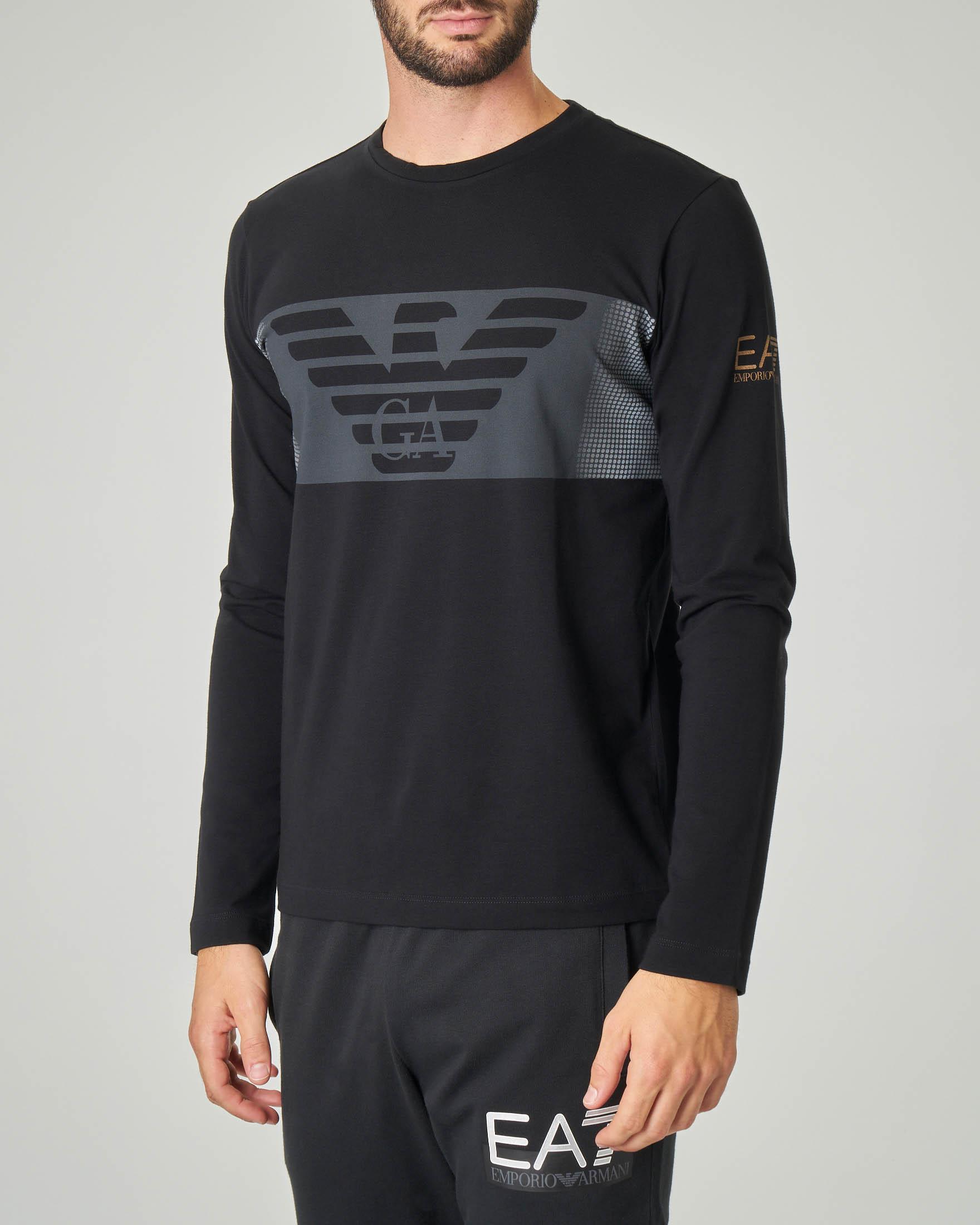 T-shirt nera manica lunga in cotone stretch con logo aquila