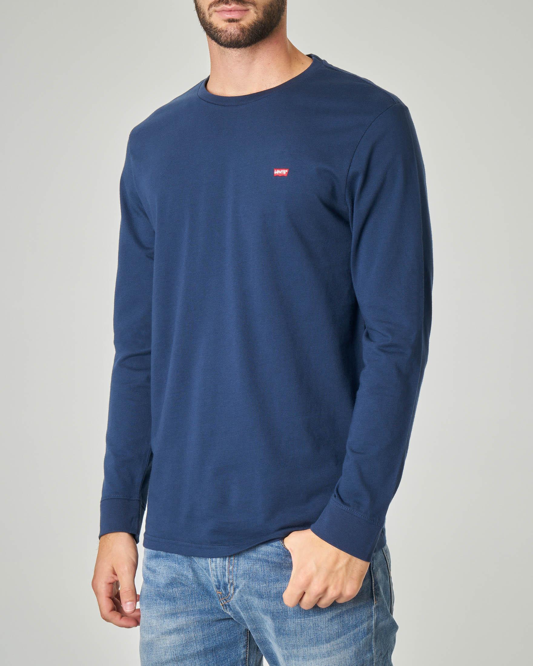 T-shirt blu manica lunga con logo batwing piccolo