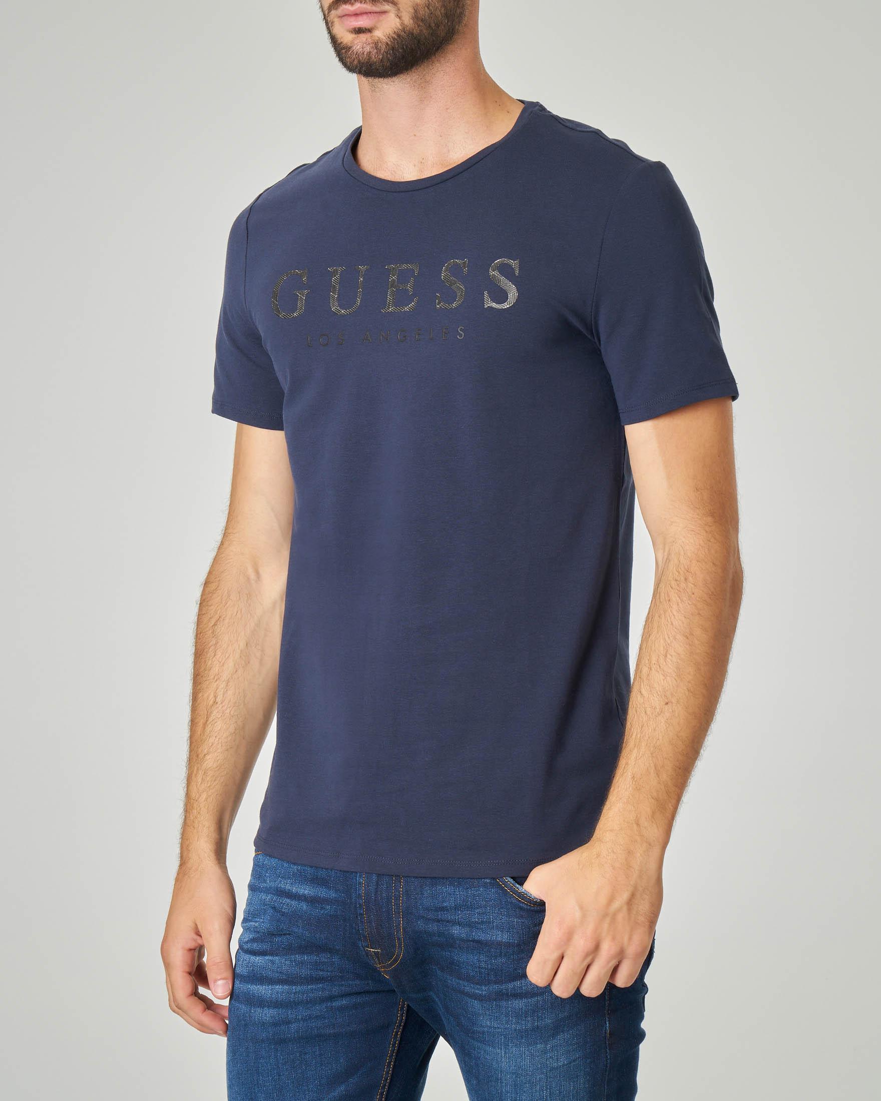 T-shirt blu con logo gommato in cotone stretch