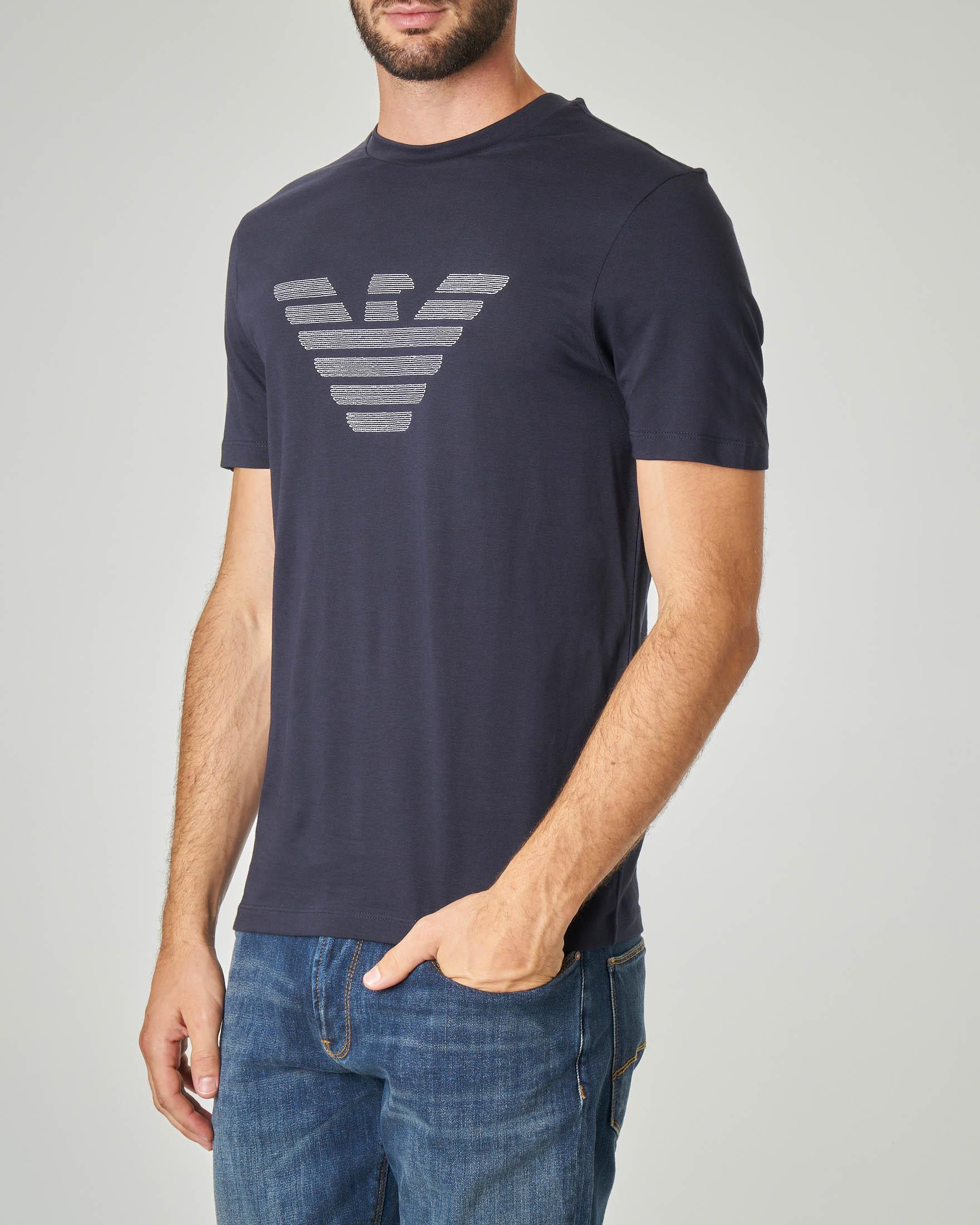 T-shirt blu con logo aquila ricamato