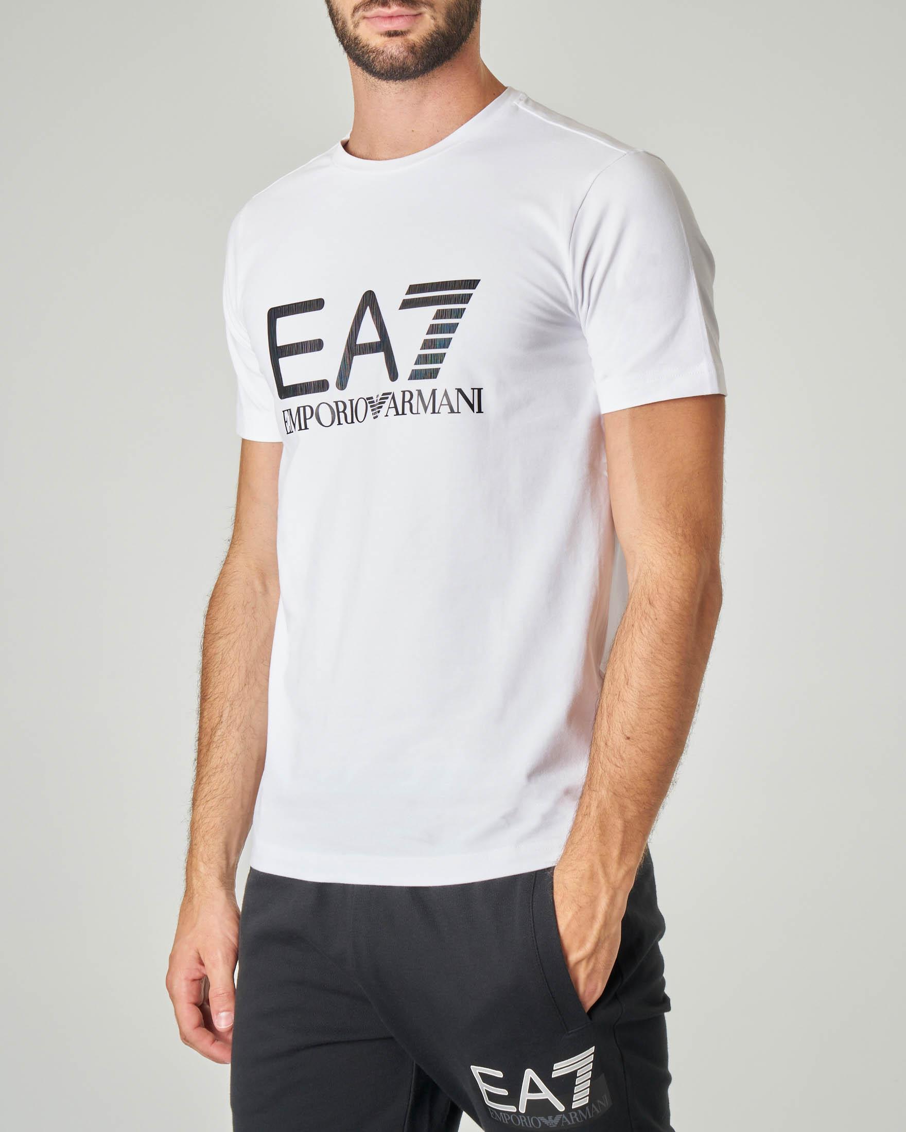 T-shirt bianca in cotone stretch con logo cangiante