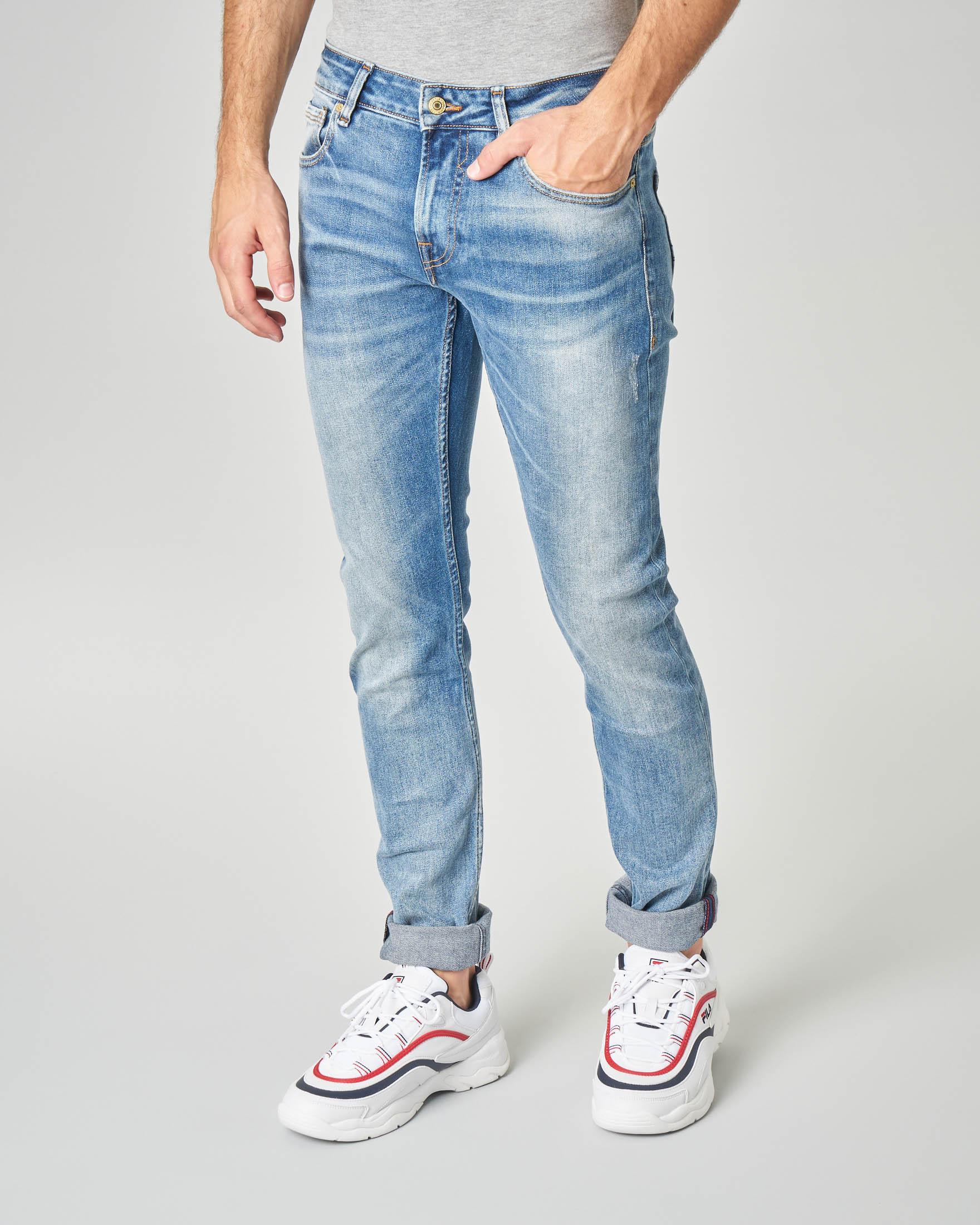 Jeans skinny lavaggio chiaro super stone wash