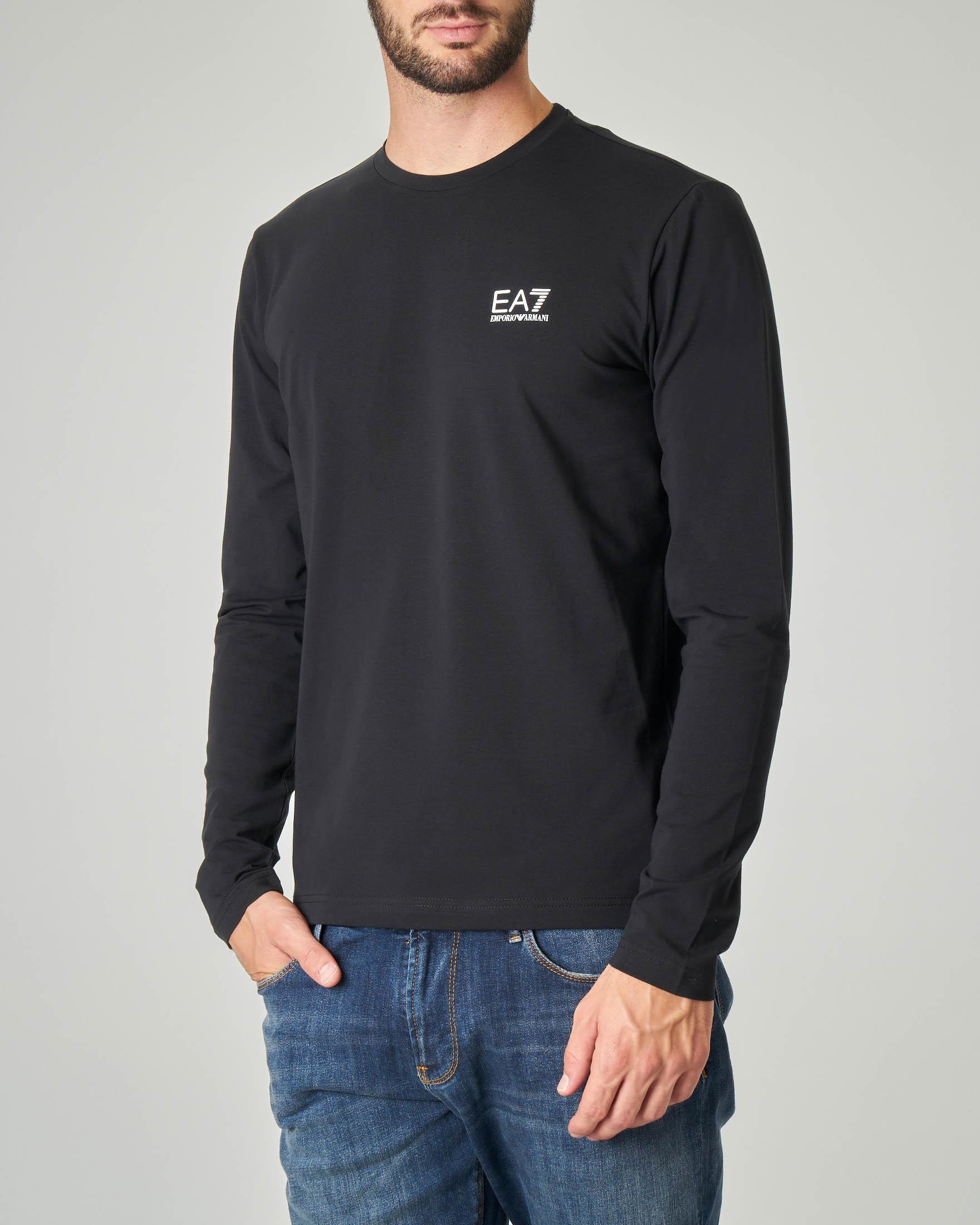 T-shirt nera manica lunga in cotone stretch