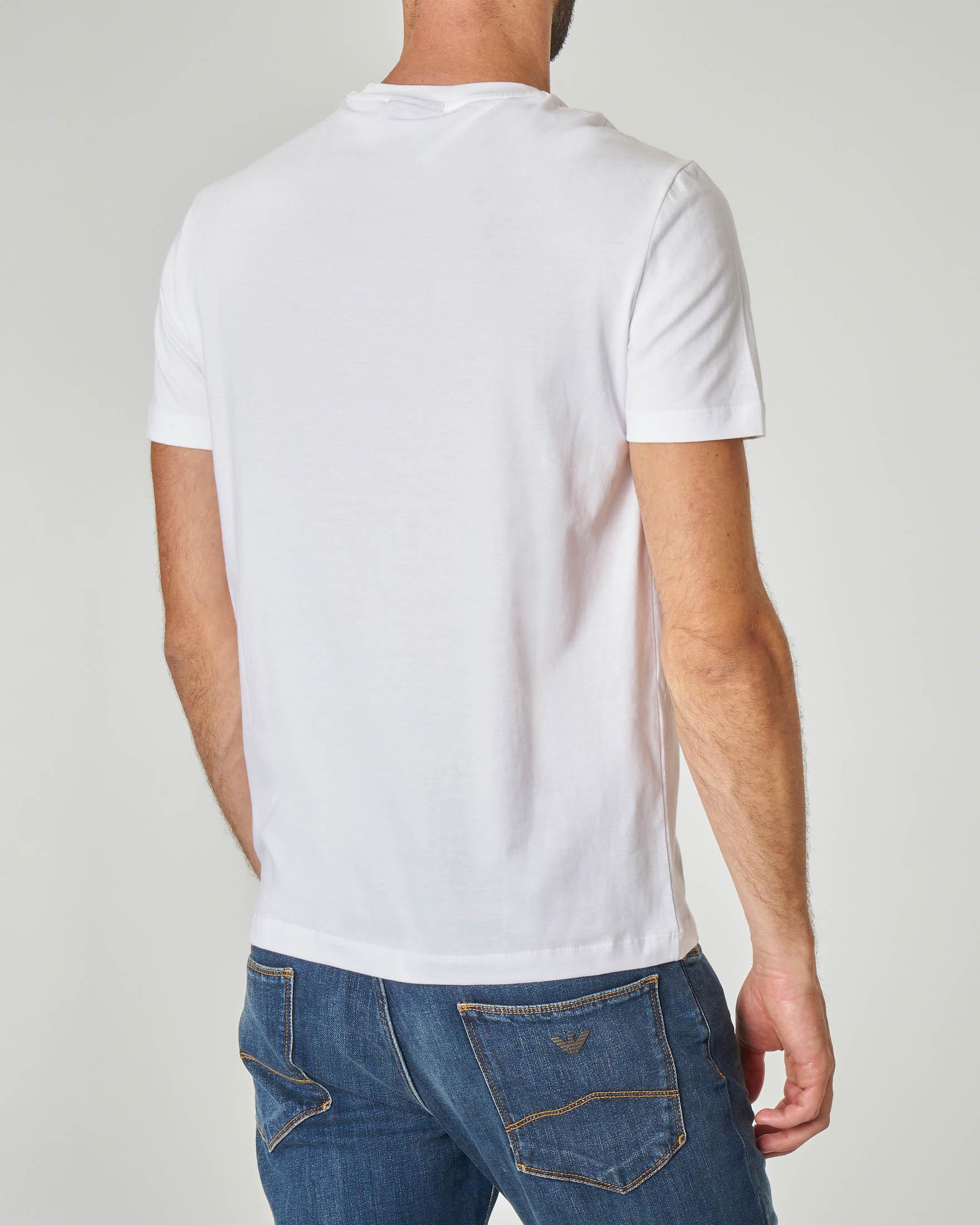 T-shirt bianca con logo aquila ricamato