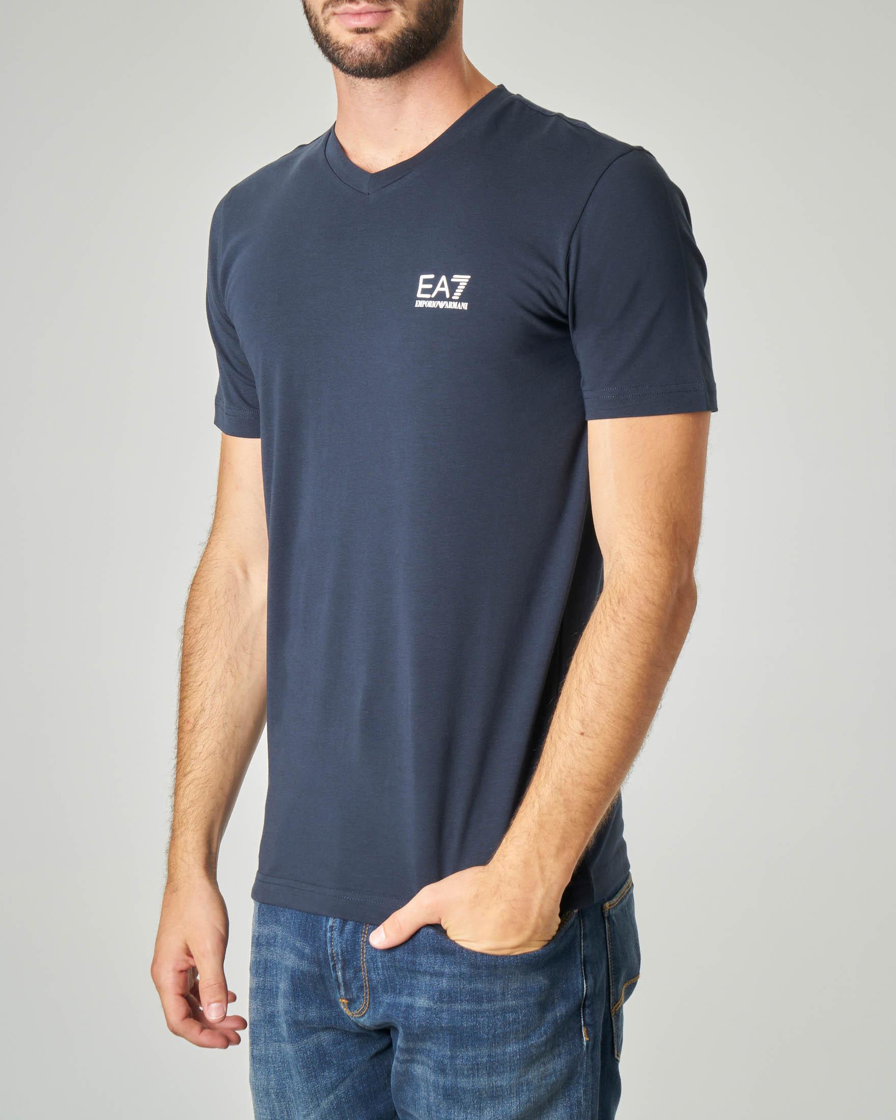 T-shirt blu in cotone stretch con logo piccolo gommato