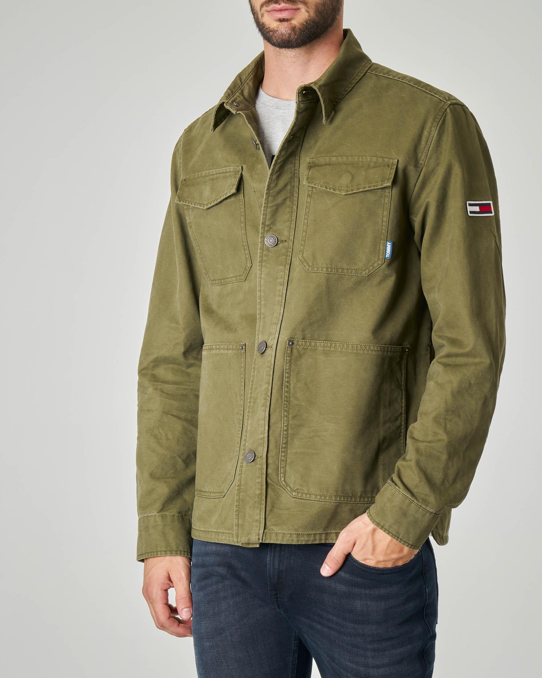 Field jacket verde militare in cotone