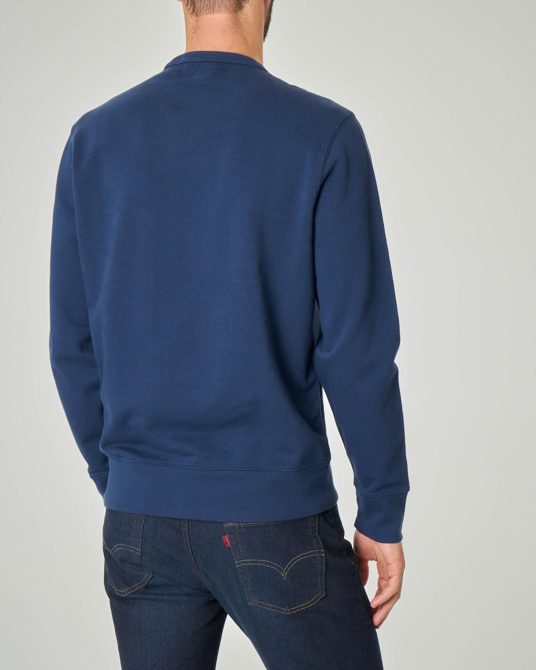 Felpa blu girocollo con logo anni '90