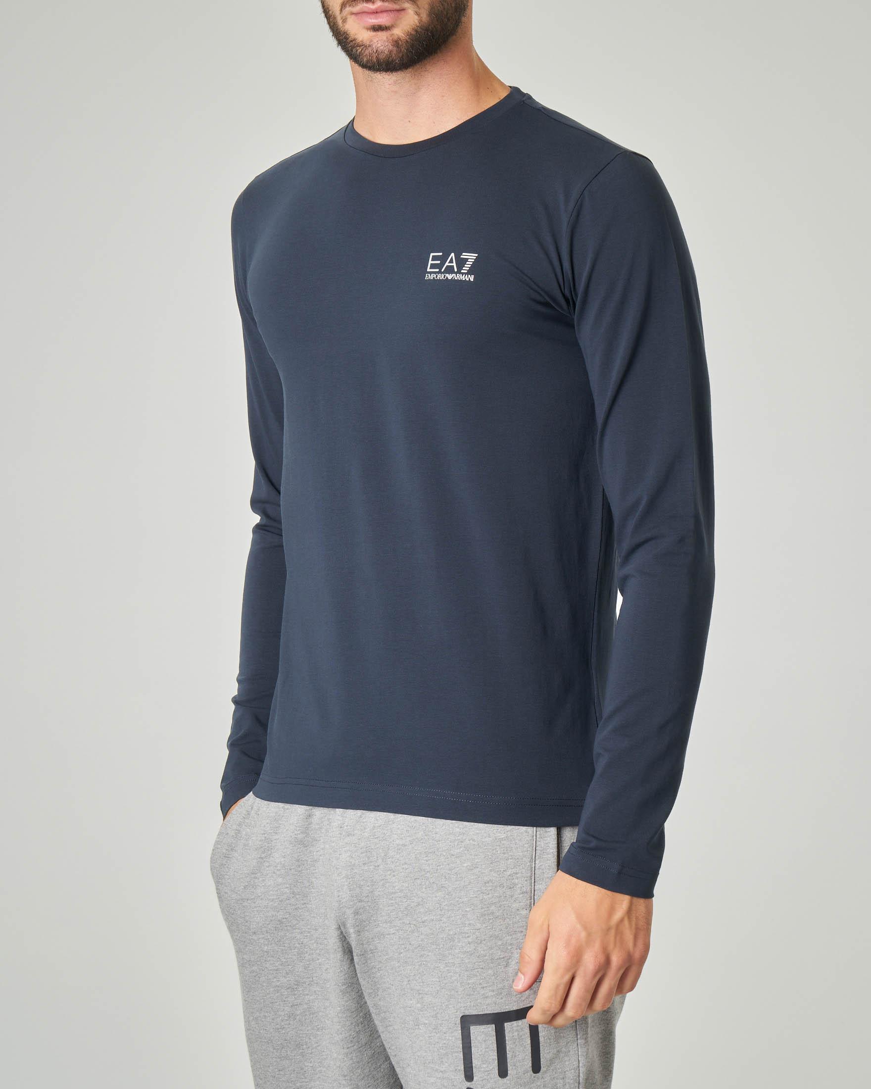 T-shirt blu manica lunga in cotone stretch