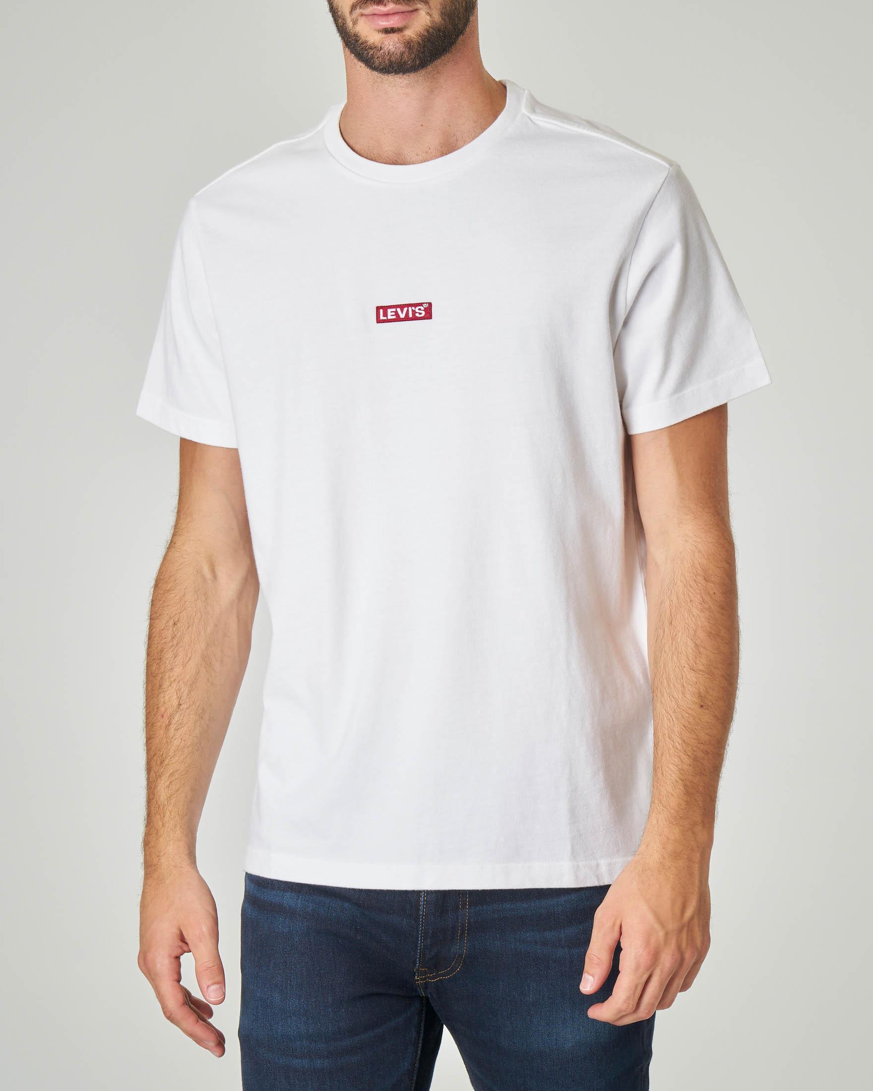T-shirt bianca con logo tab rosso
